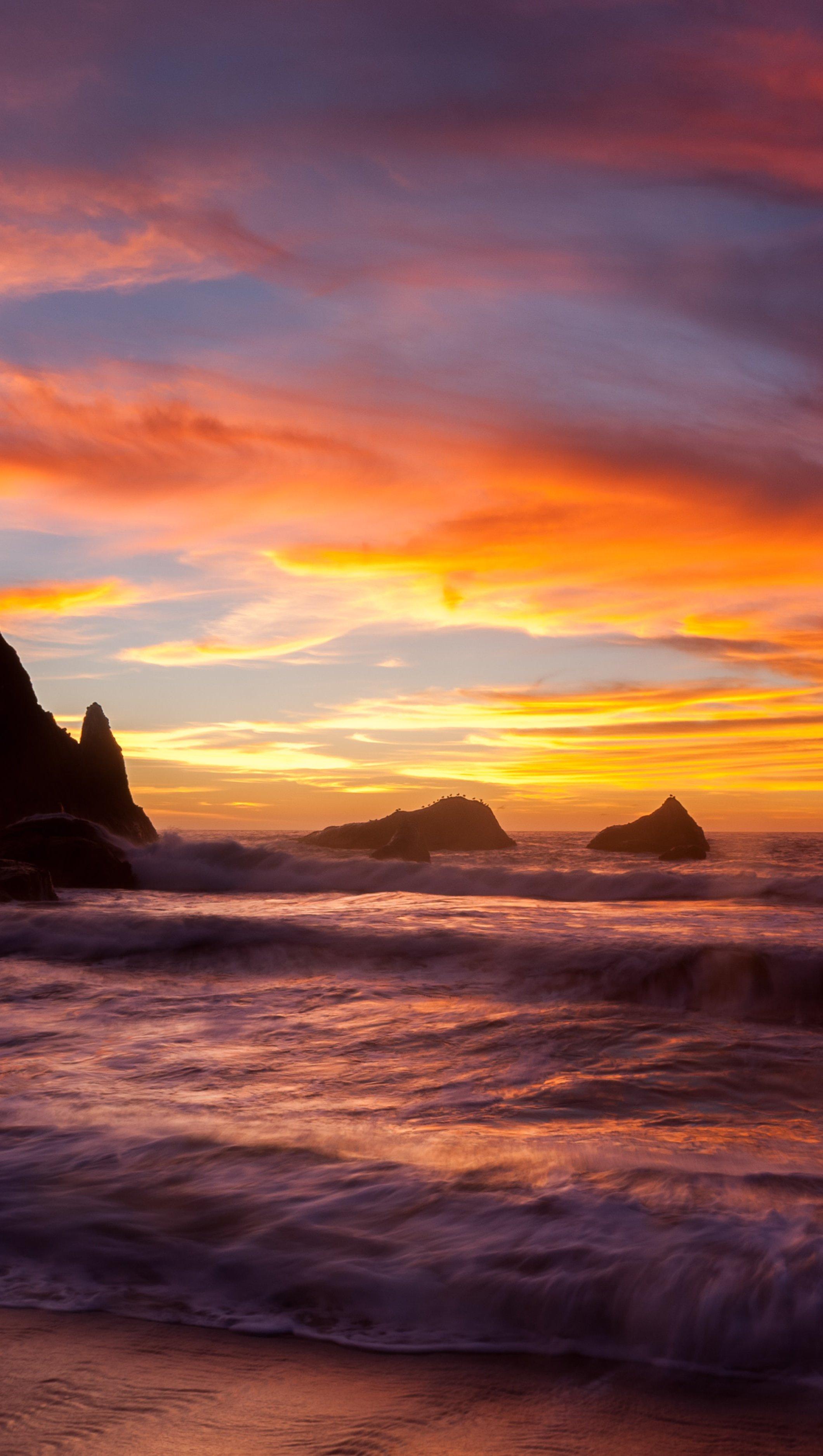 Wallpaper Beach at sunset Vertical