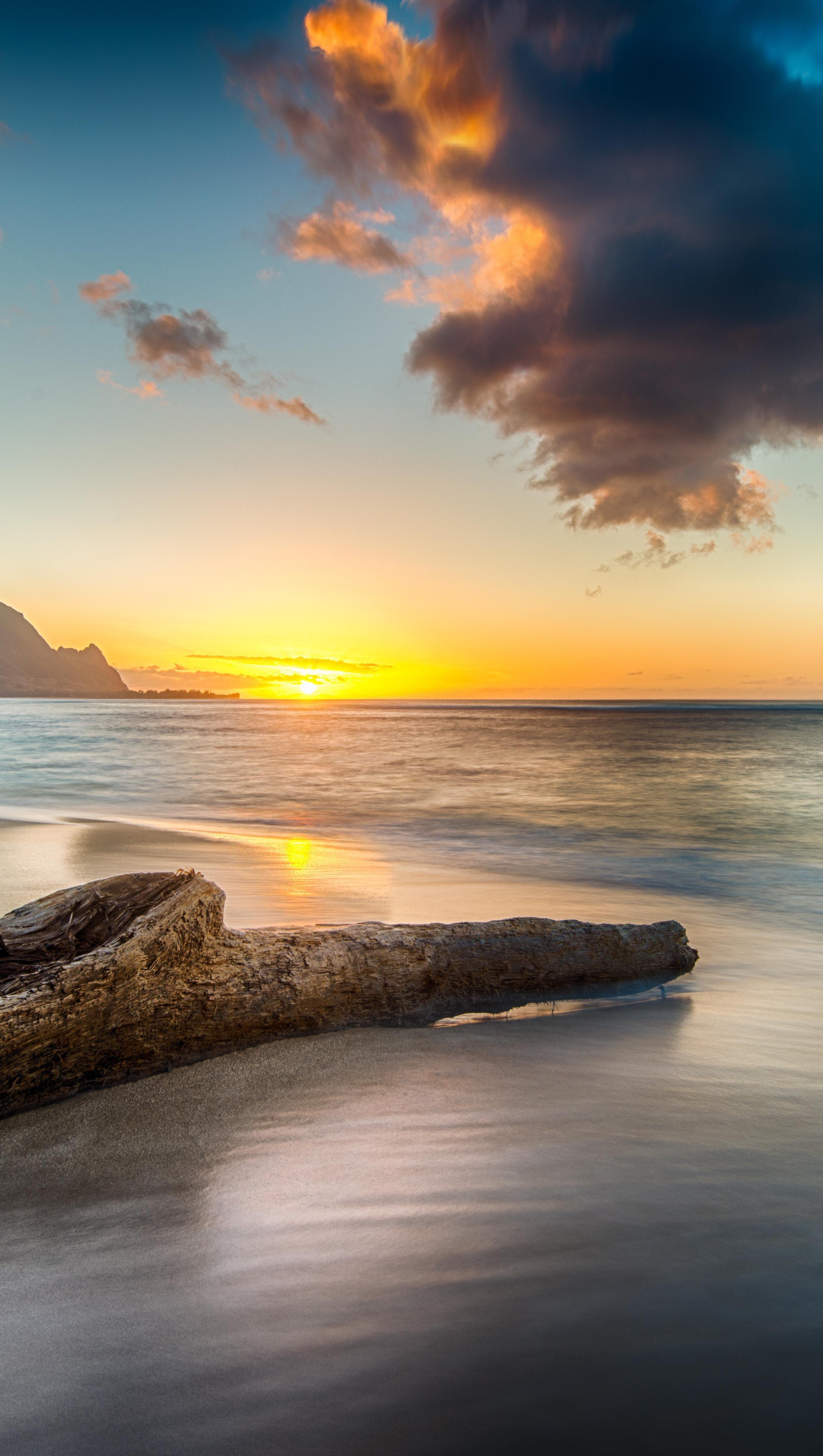 Wallpaper Beach at sunset on north shore of Kauai Vertical
