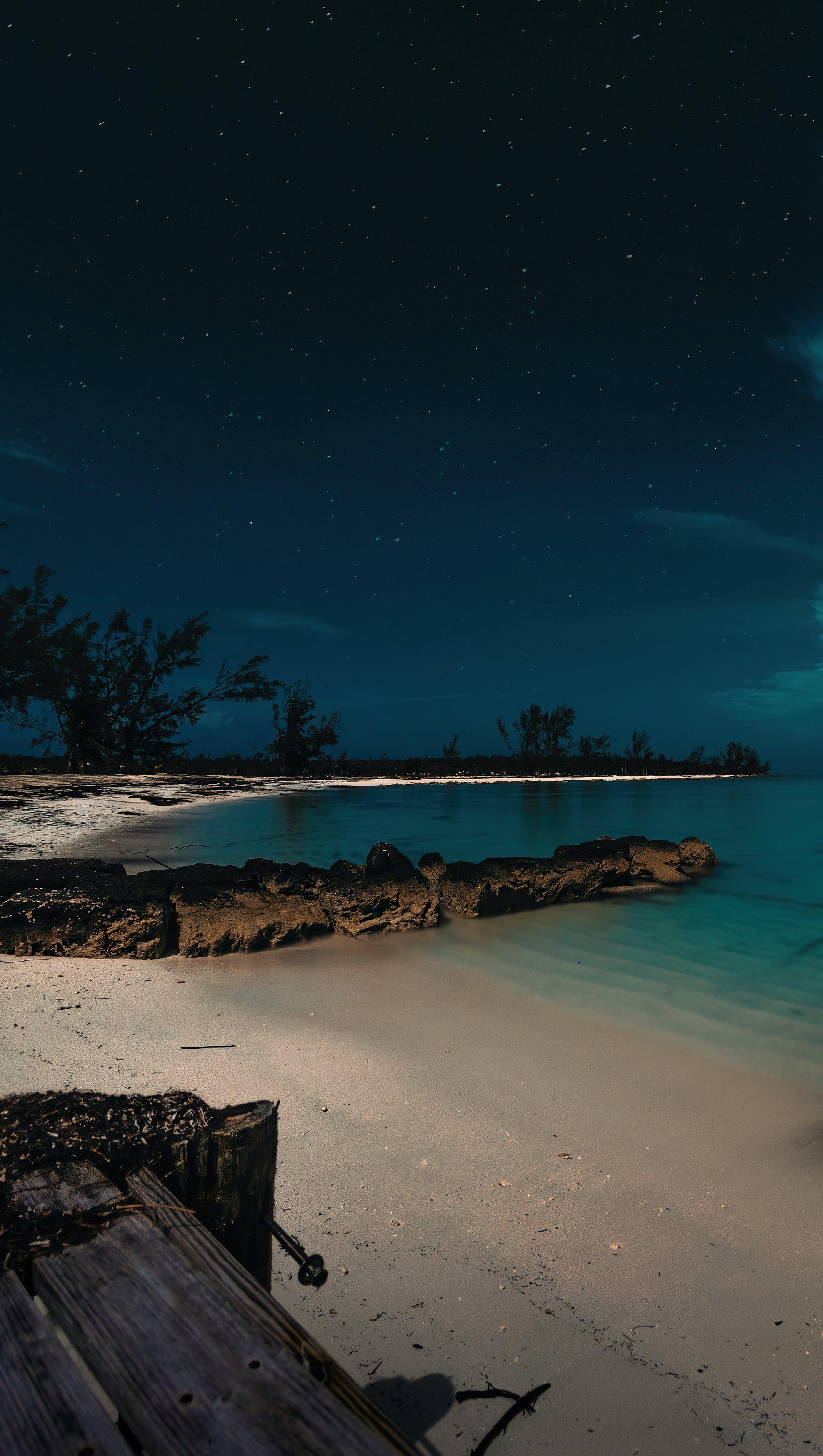 Fondos de pantalla Playa nocturna en las Bahamas Vertical
