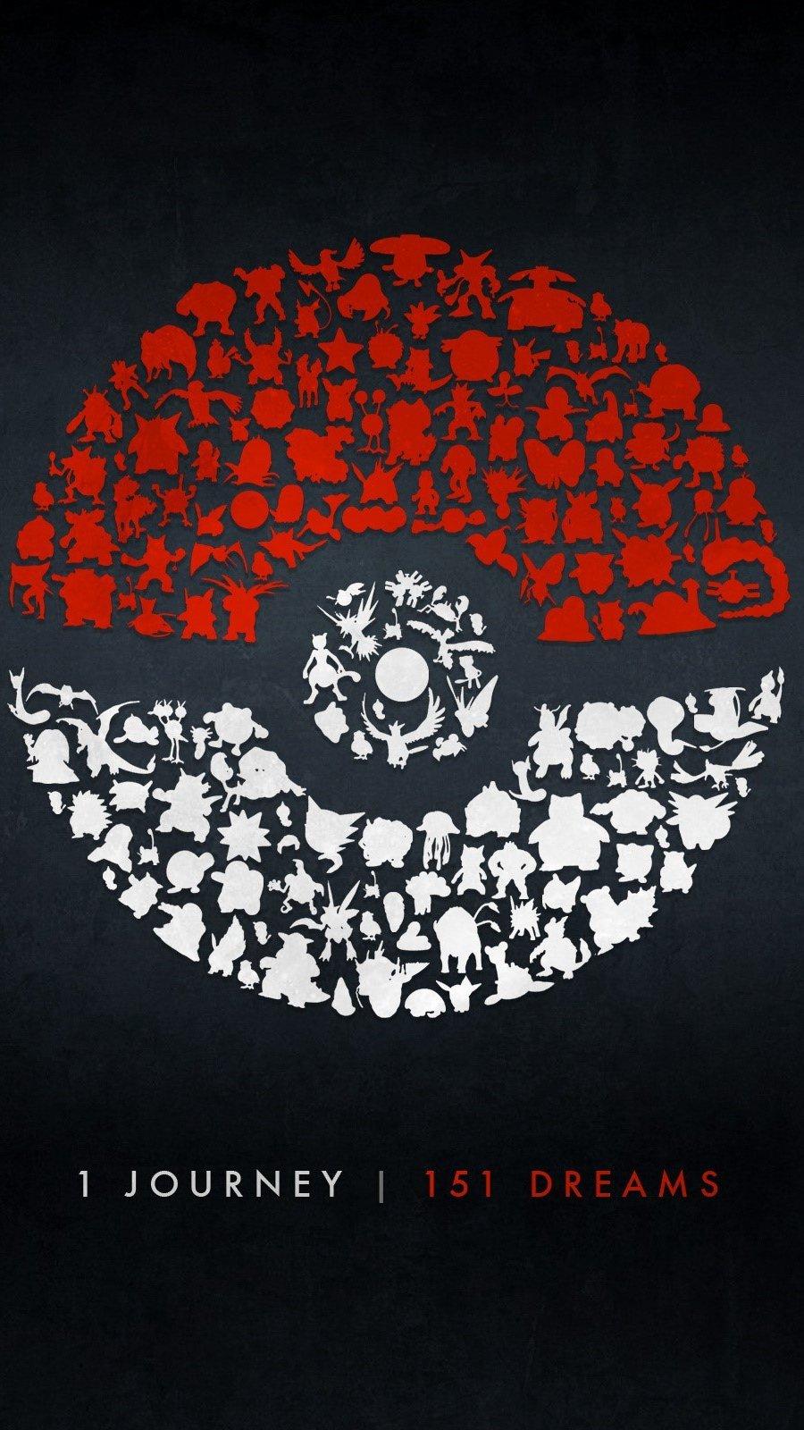 Wallpaper Pokeball and pokemons Vertical