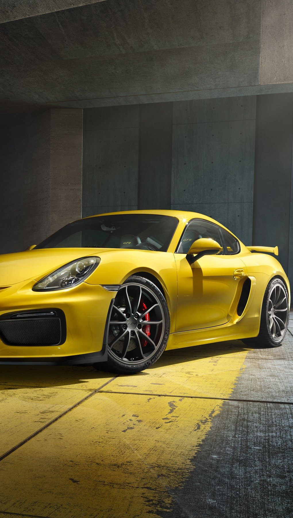 Wallpaper Porsche Cayman GT4 yellow Vertical
