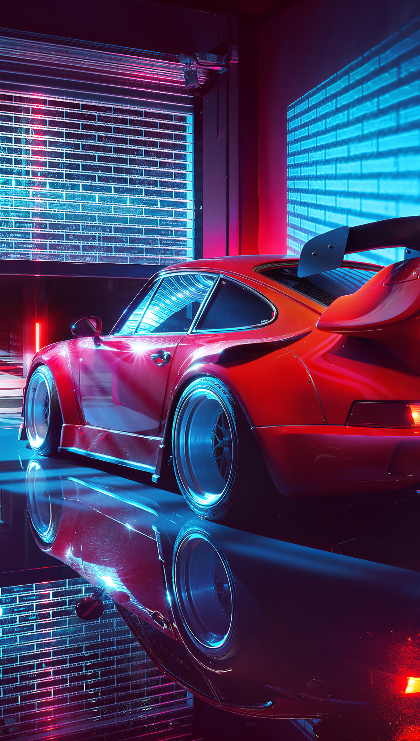 Wallpaper Red Porsche Vertical