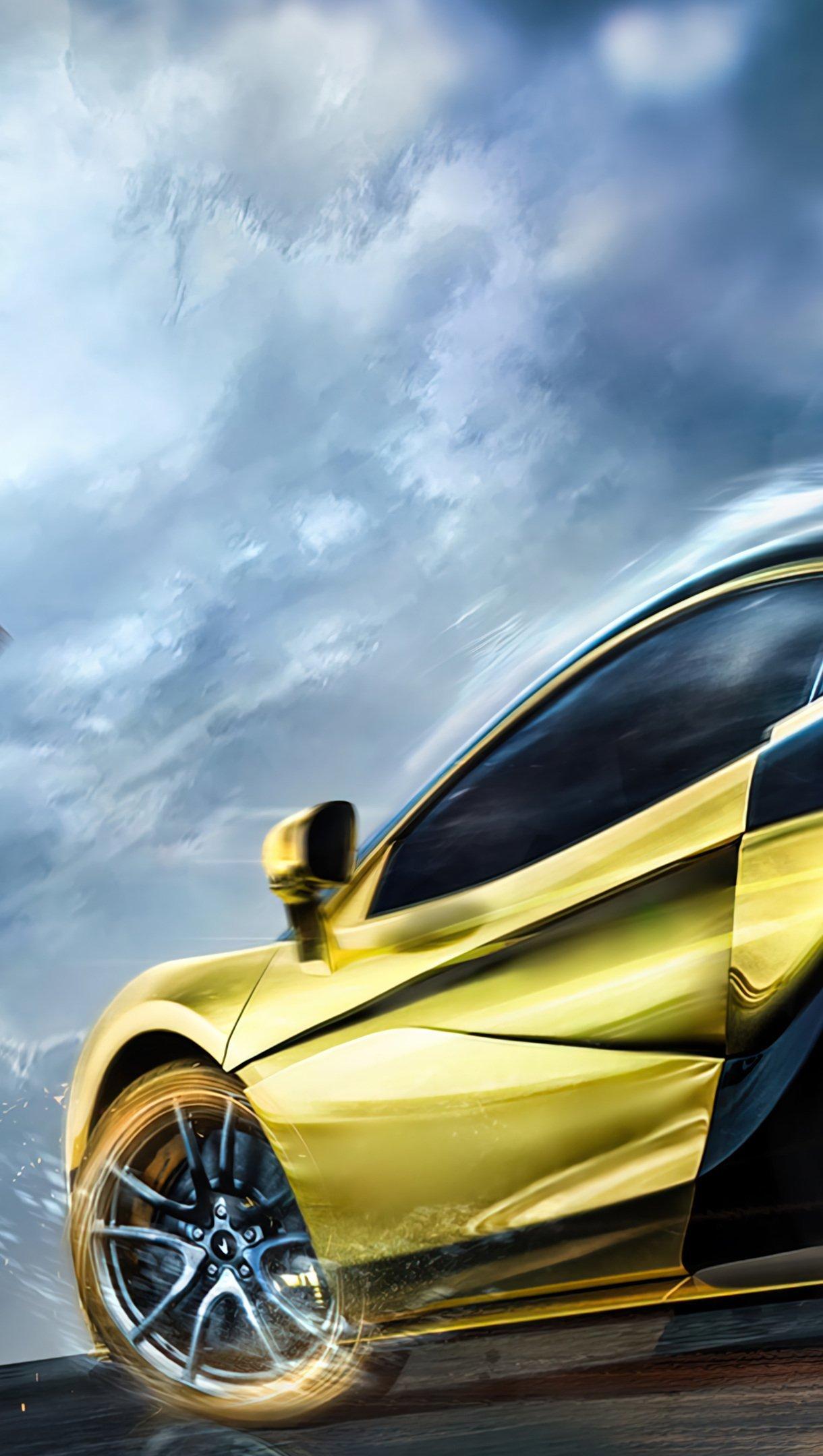 Fondos de pantalla PUBG Mobile Auto Deportivo Mclaren dorado Vertical