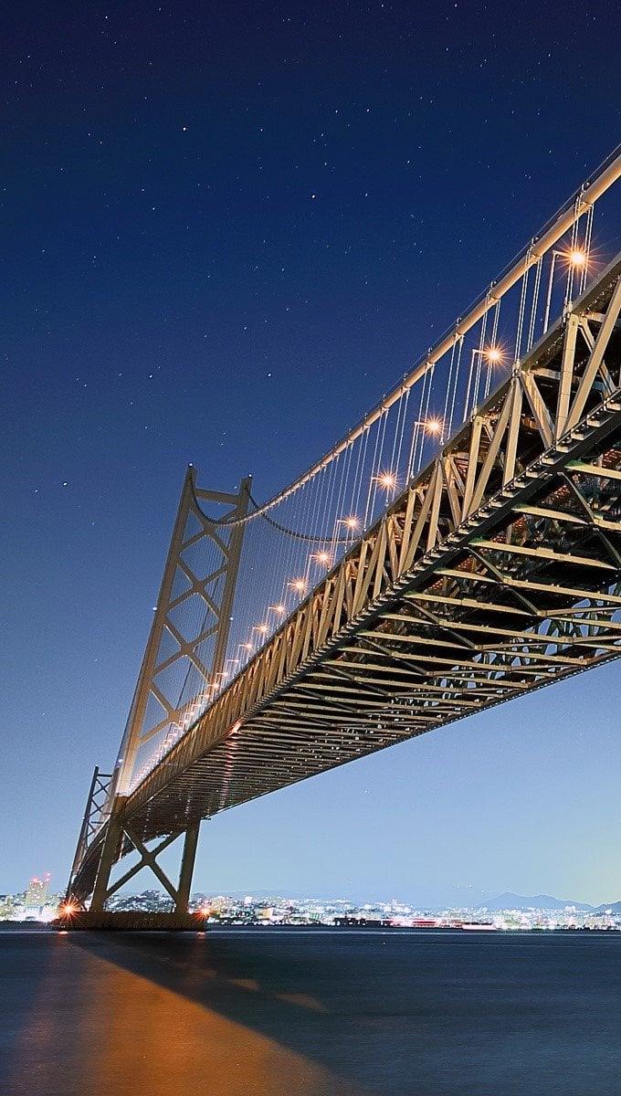 Wallpaper Akashi Kaikyo Bridge Vertical