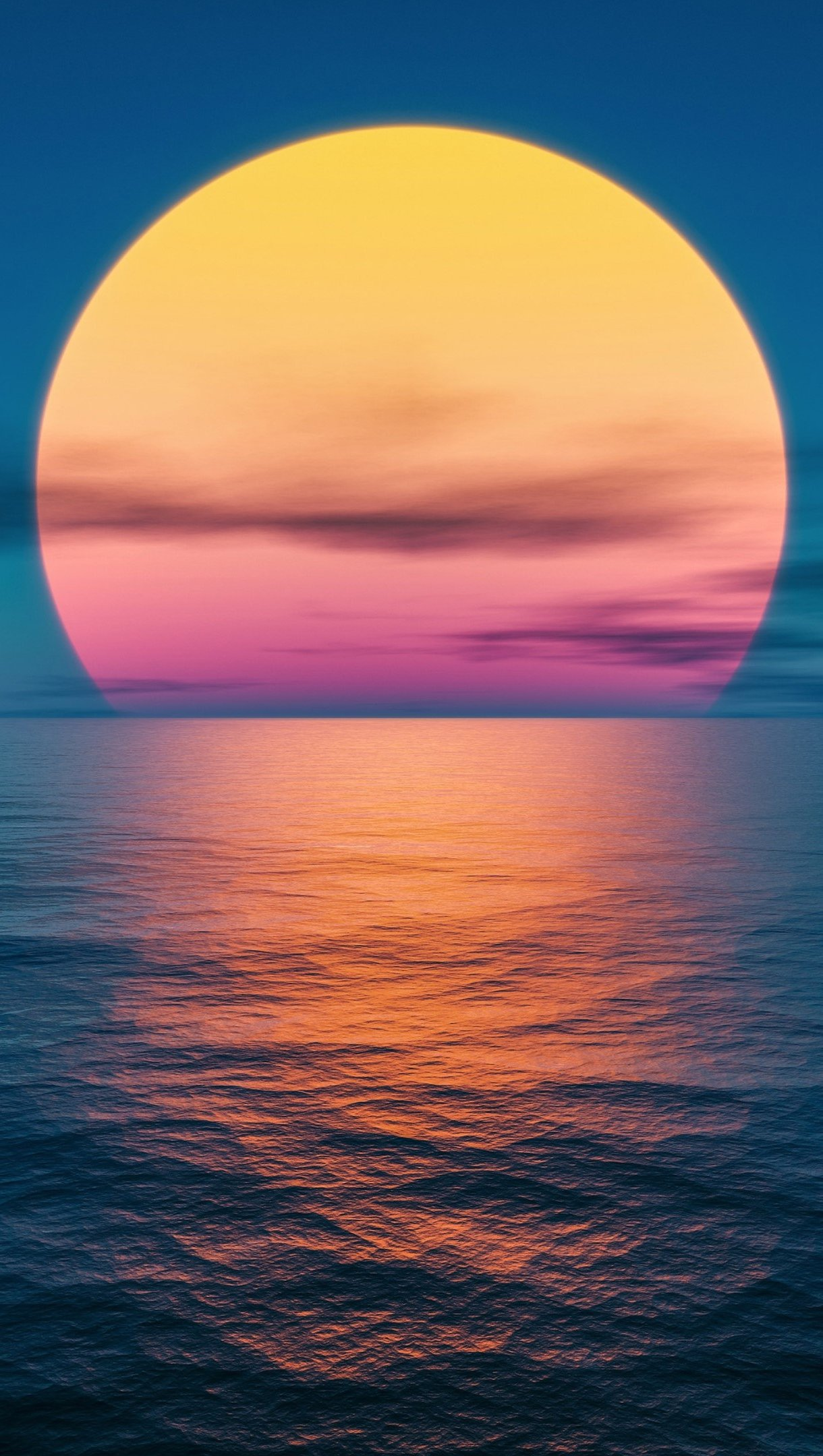 Fondos de pantalla Puesta de sol en el océano Fantasía Vertical