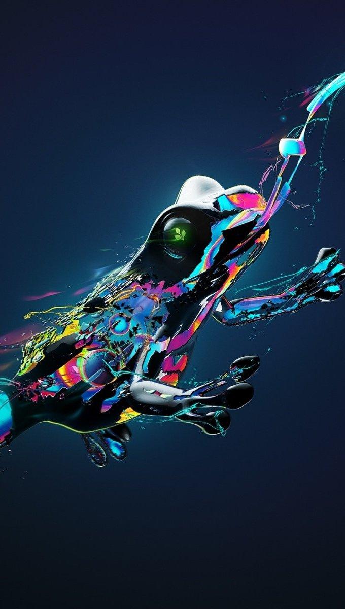 Fondos de pantalla Rana hecha de colores Vertical