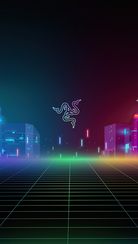 Fondos de pantalla Razer logo con edificios Vertical