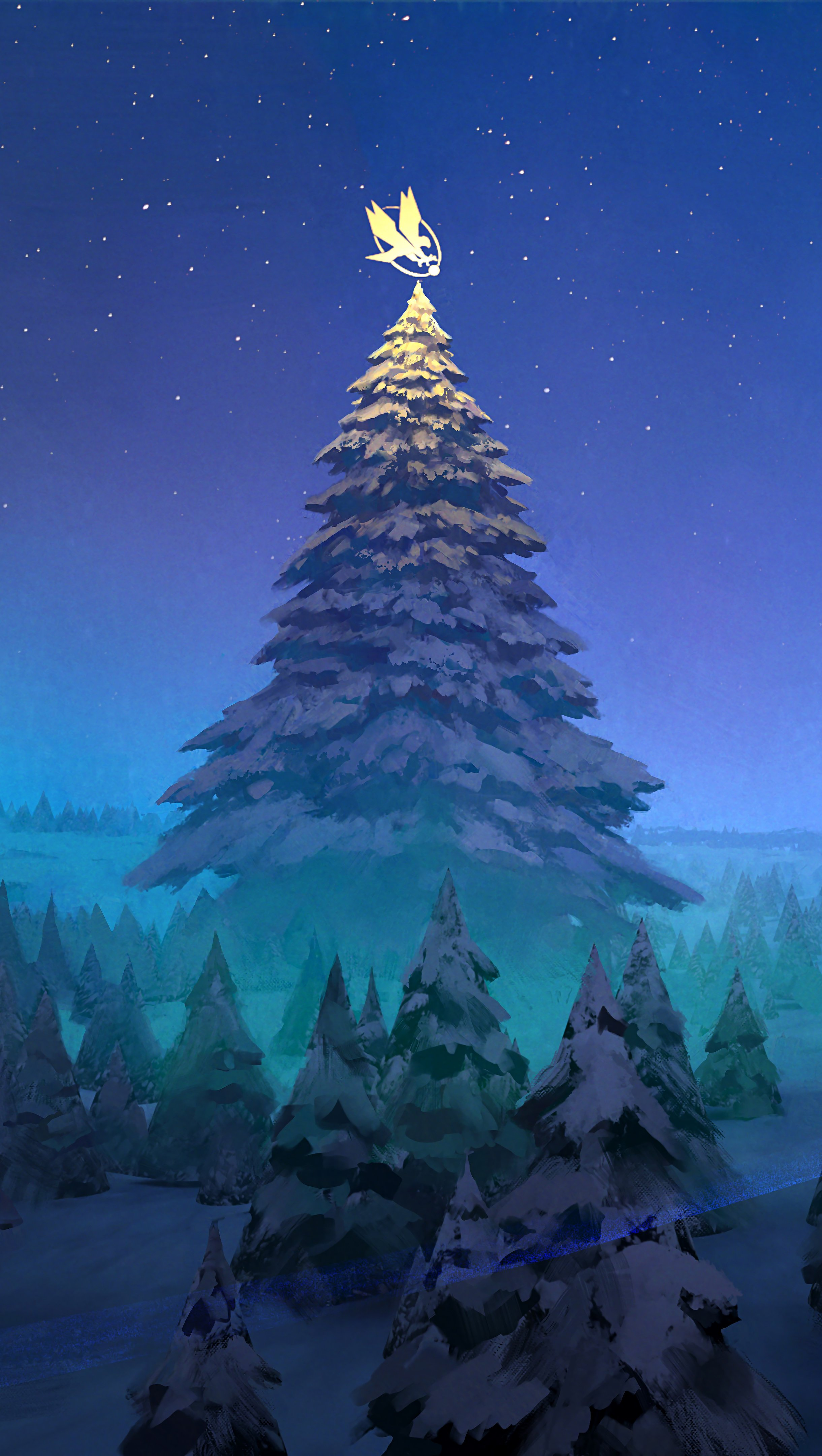 Wallpaper Christmas tree with Santa Claus sleigh flying Vertical