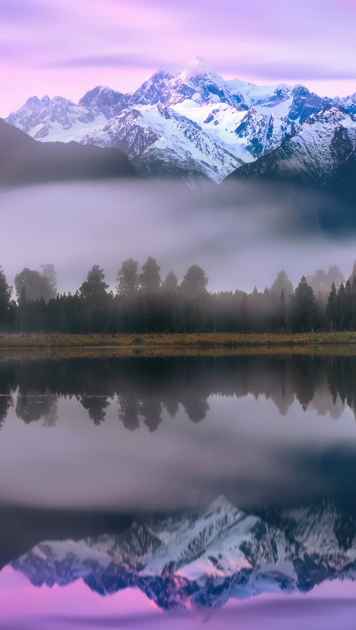 Wallpaper Reflection of mountains and pine trees and lake Vertical
