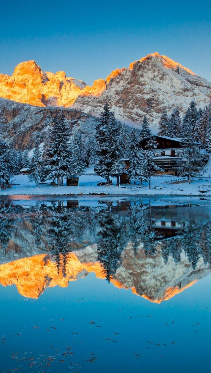 Wallpaper Reflections in Lake Misurina Vertical