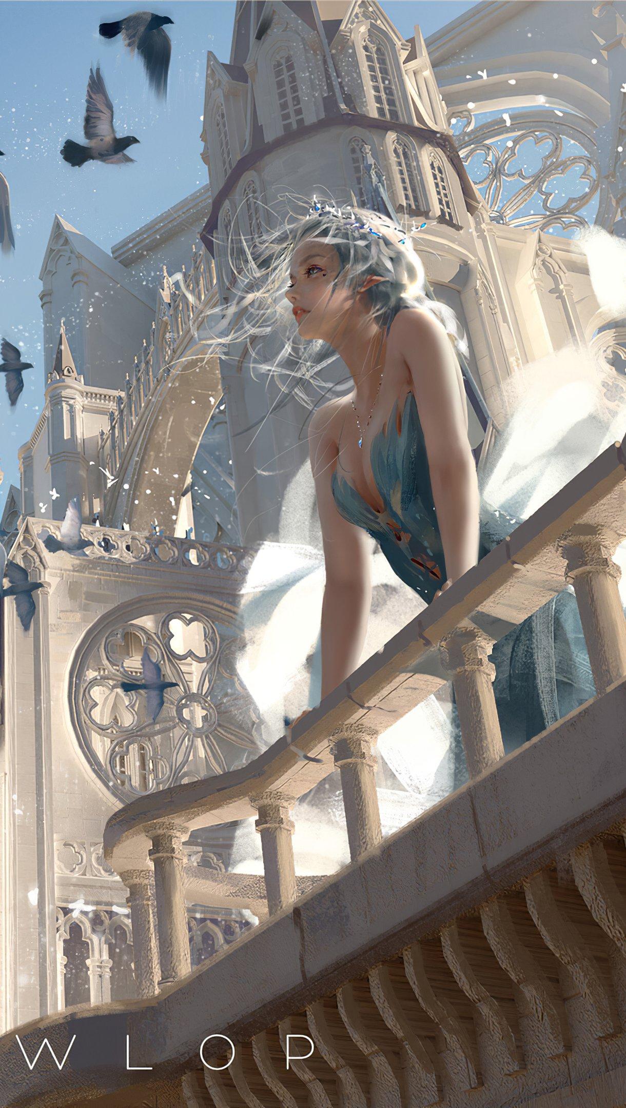 Fondos de pantalla Reina blanca en castillo con aves Vertical