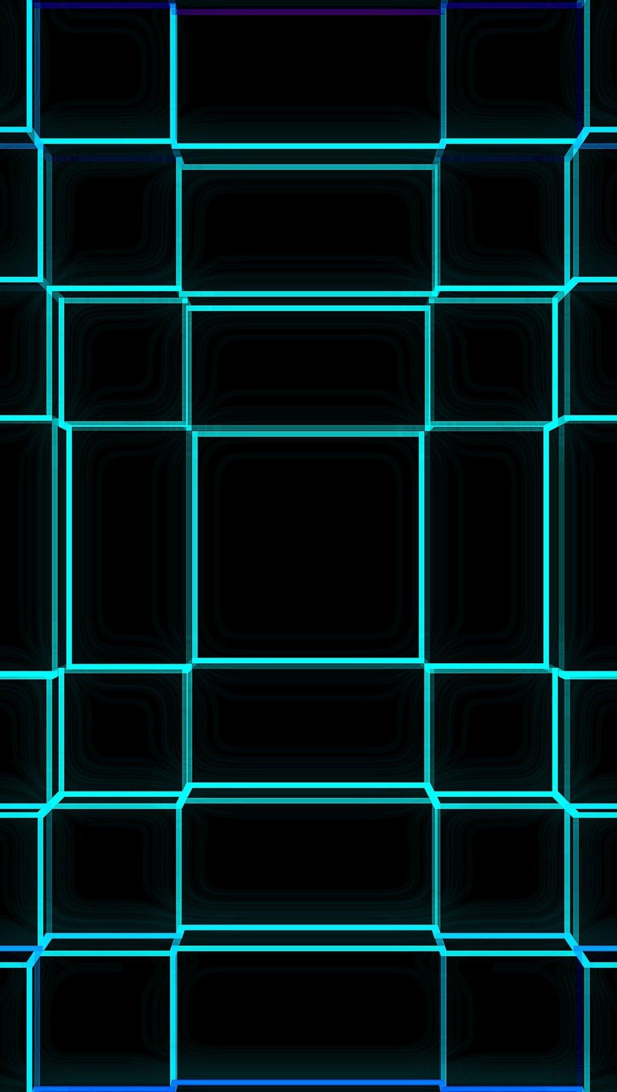 Wallpaper 3D Blue geometric grid Vertical