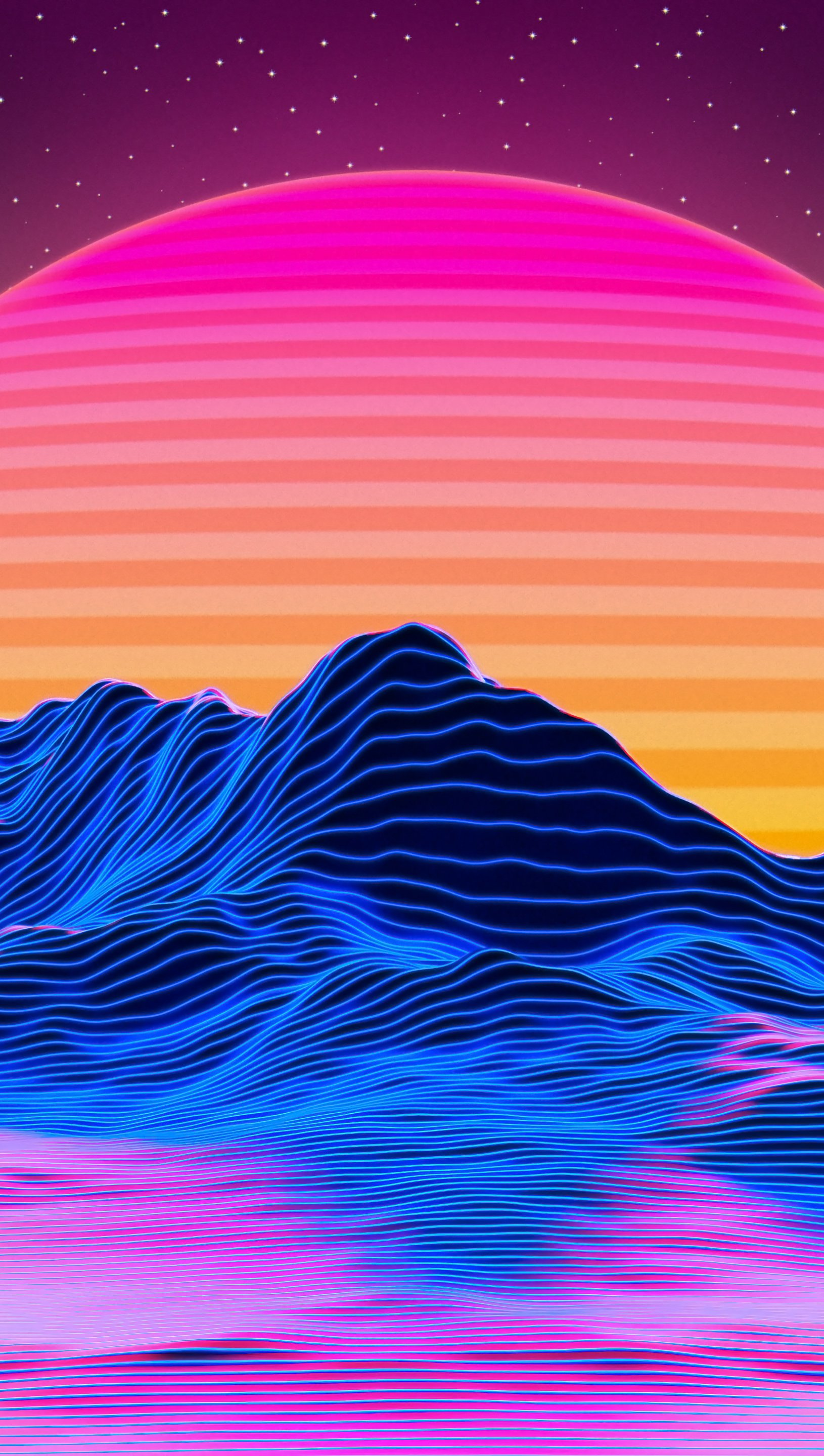 Wallpaper Retrowave mountains of star lines and sun Vertical