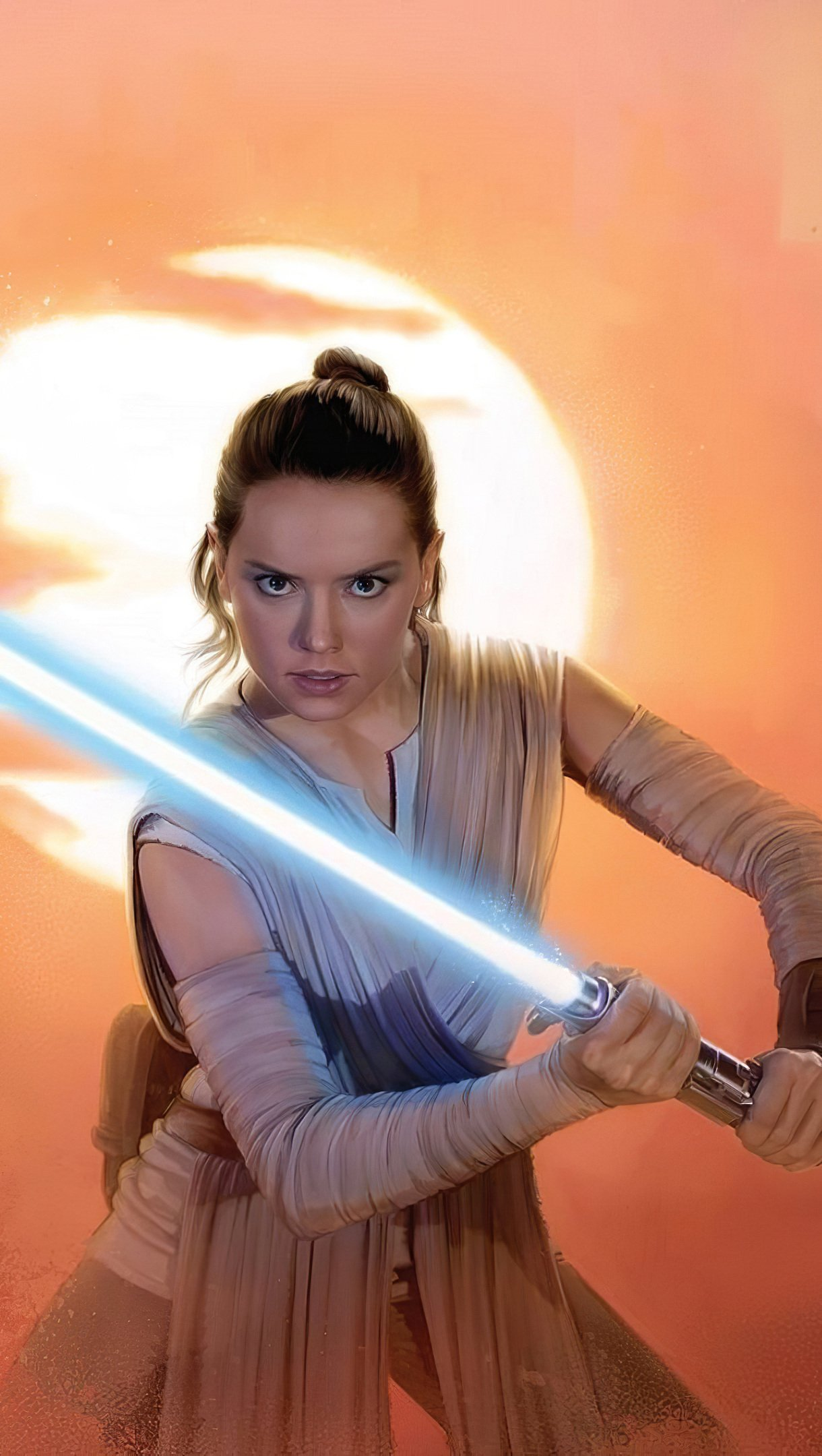 Wallpaper Rey with lightsaver from Star Wars The rise of the skywalker Vertical