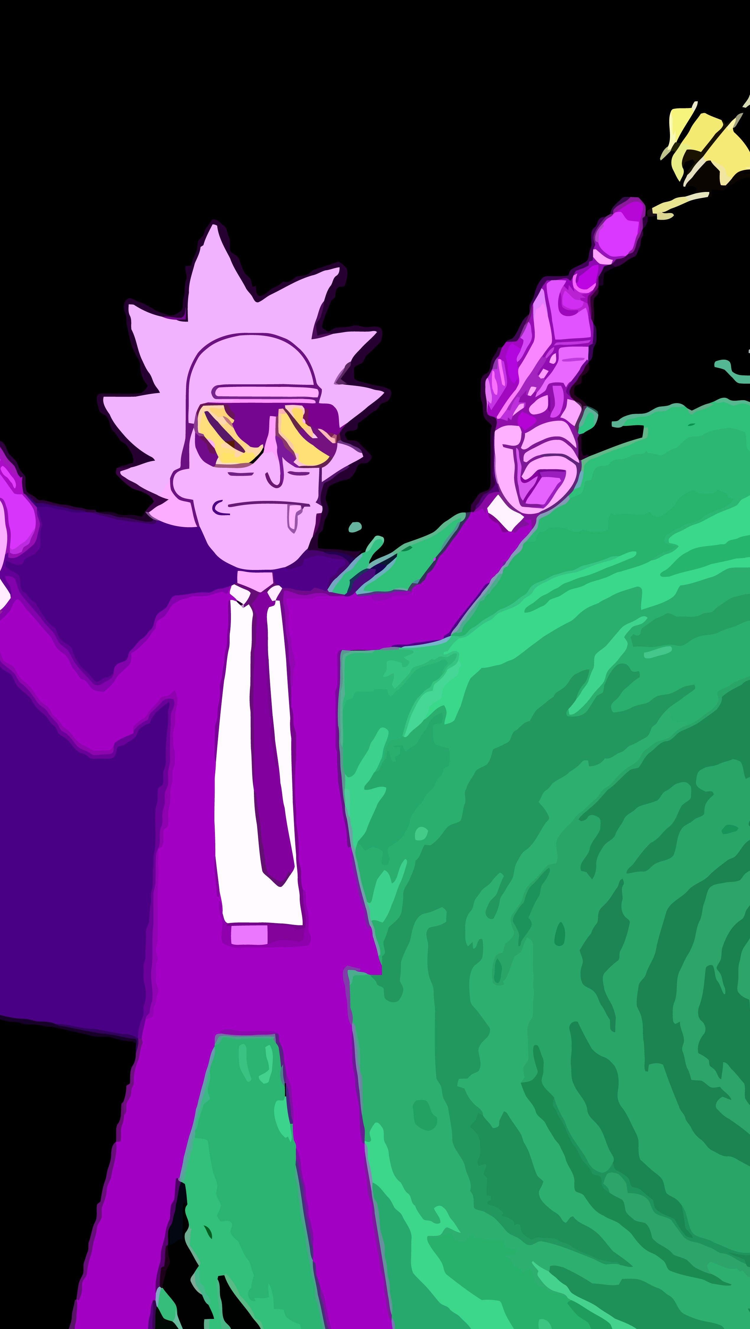 Fondos de pantalla Rick y Morty con armas Vertical