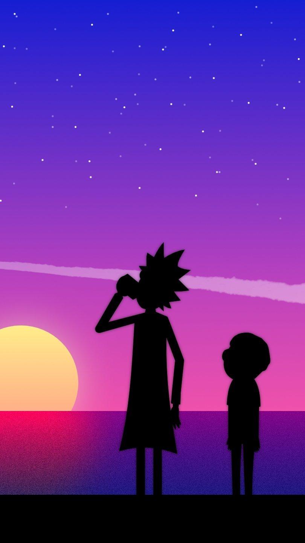 Fondos de pantalla Rick y Morty en atardecer Vertical