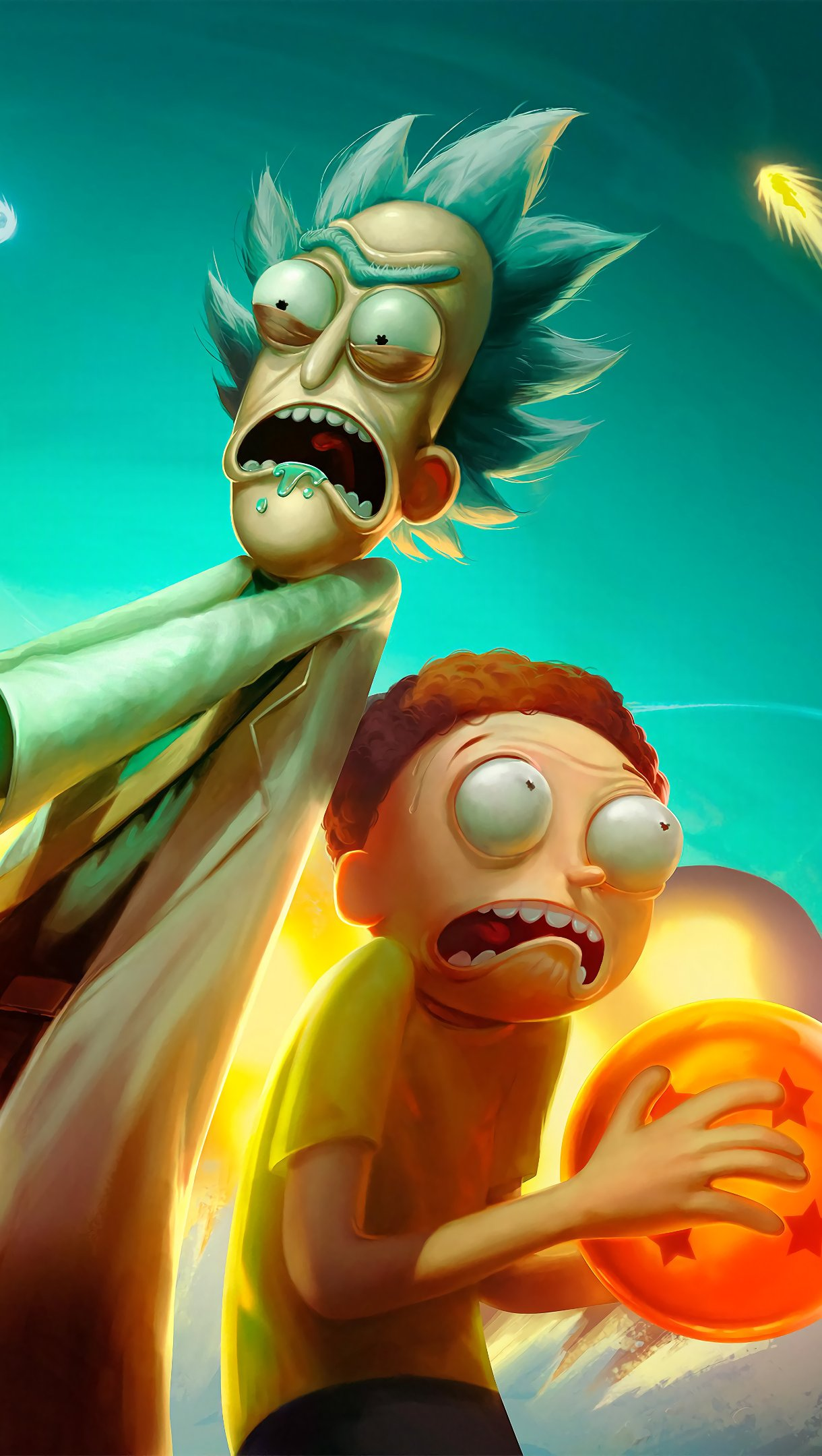 Fondos de pantalla Anime Rick y Morty en Universo de Dragon Ball Vertical