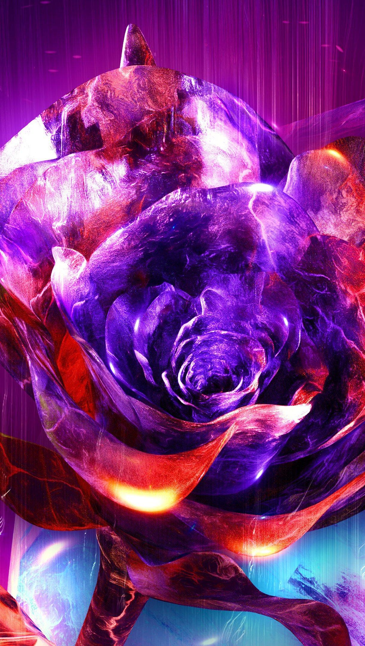 Fondos de pantalla Rosa con fuego abstracta Vertical