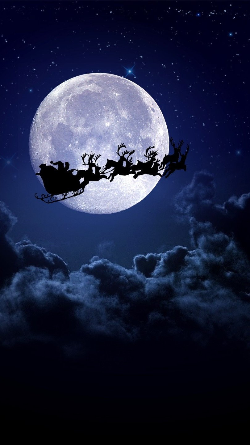 Wallpaper Santa on the Moon Vertical