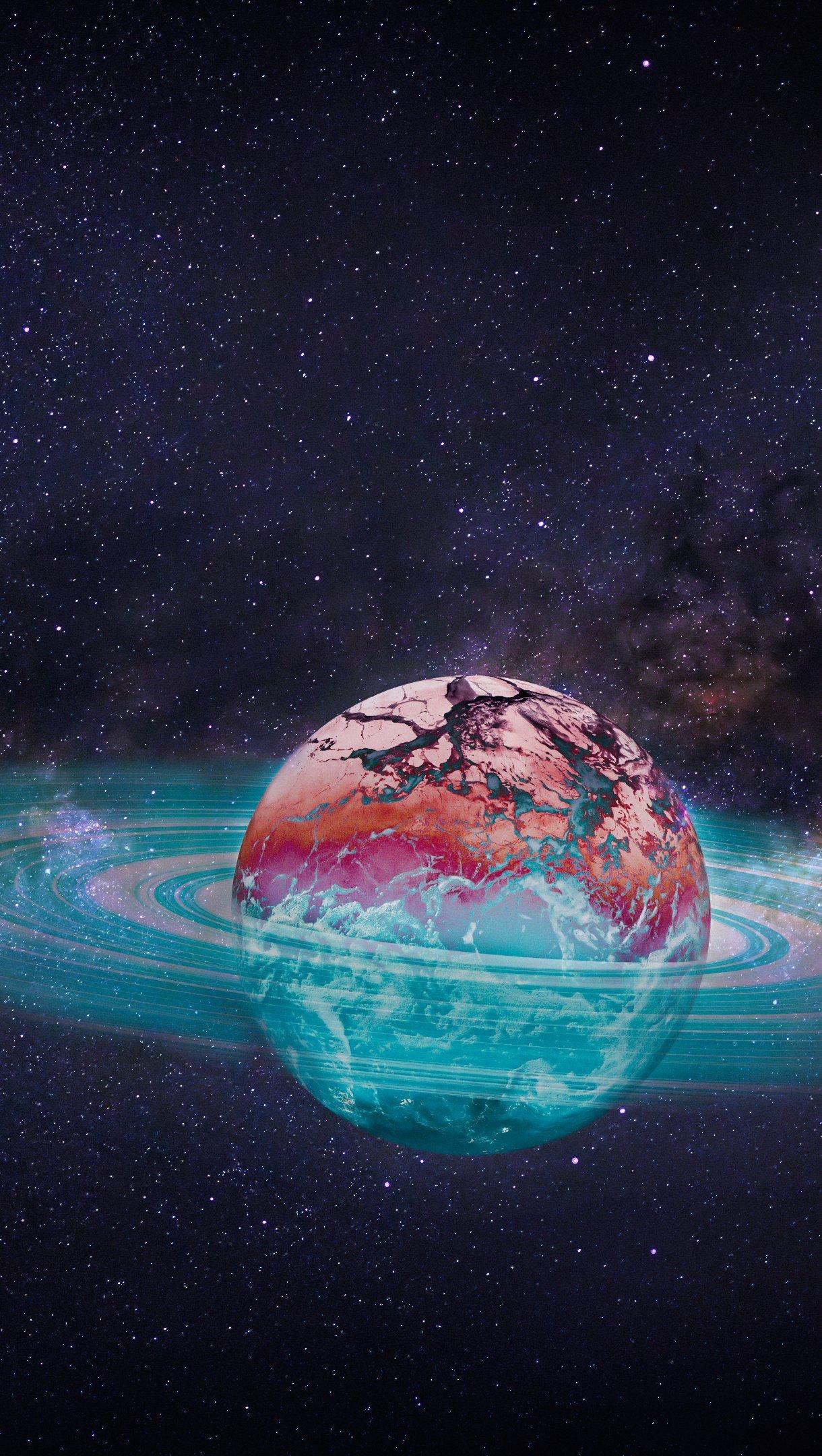 Fondos de pantalla Saturno Arte digital Vertical