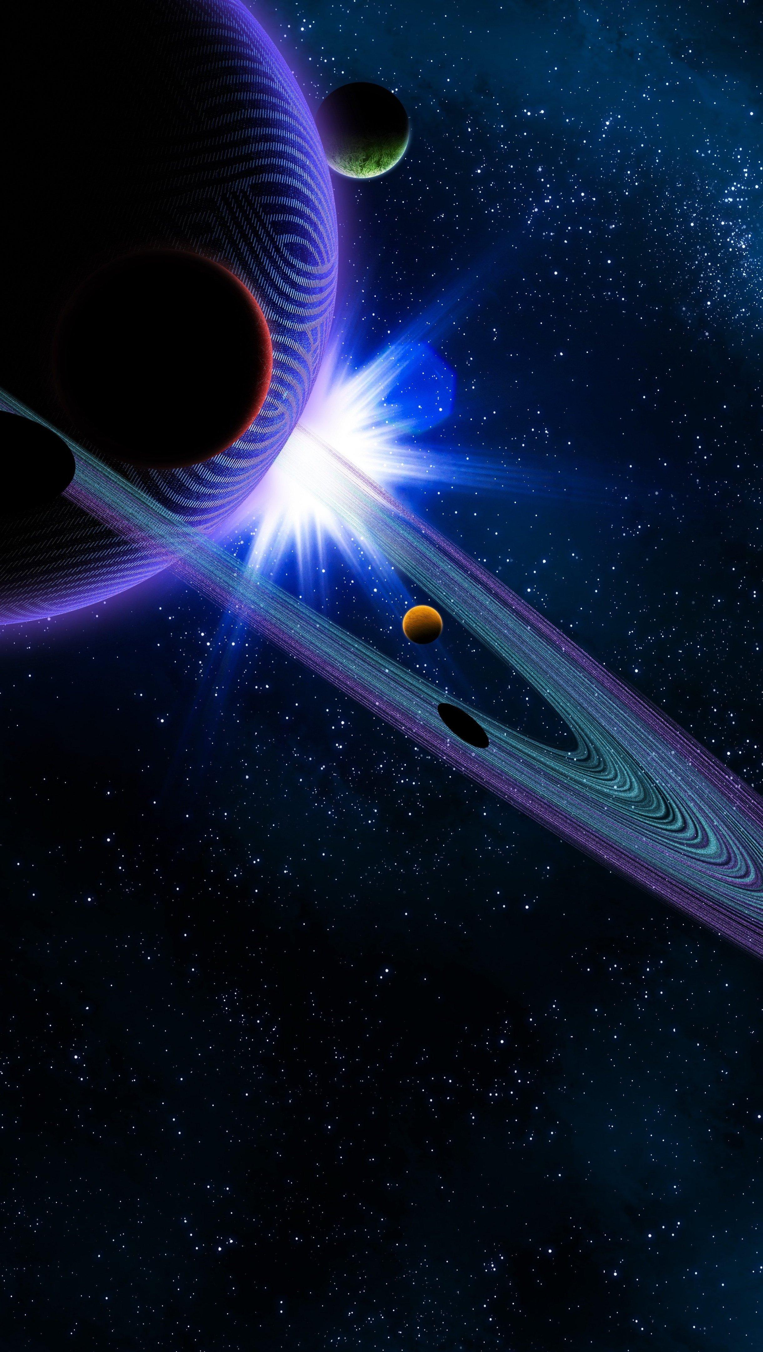 Fondos de pantalla Saturno y otros planetas Vertical