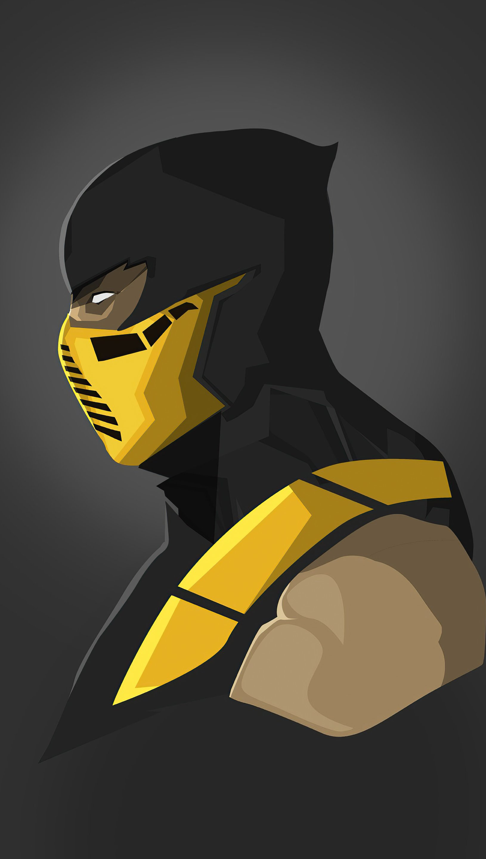 Fondos de pantalla Scorpion de Mortal Kombat Minimalista Vertical