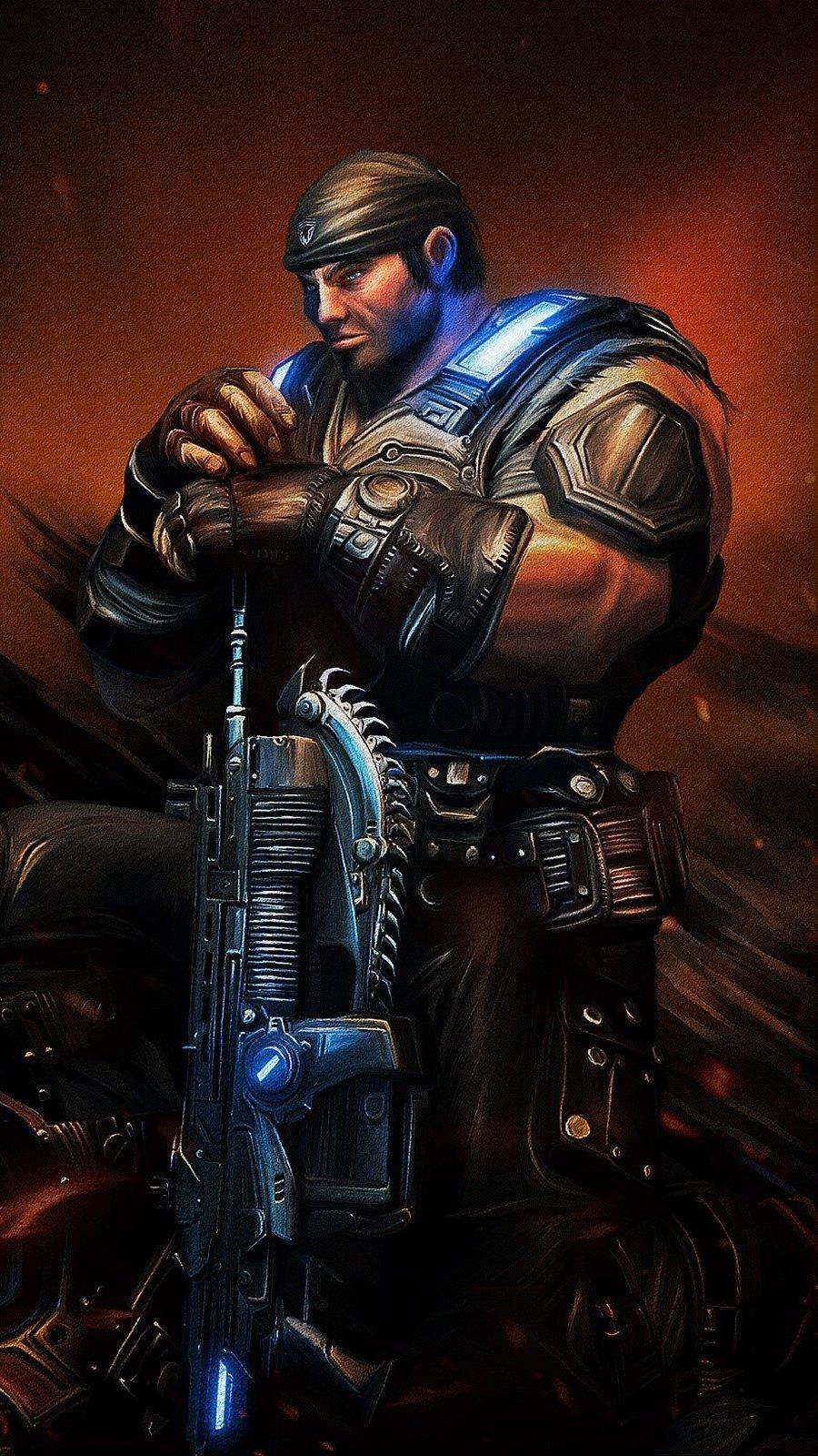 Wallpaper Sergeant Marcus Michael Fenix Gears Of War Vertical