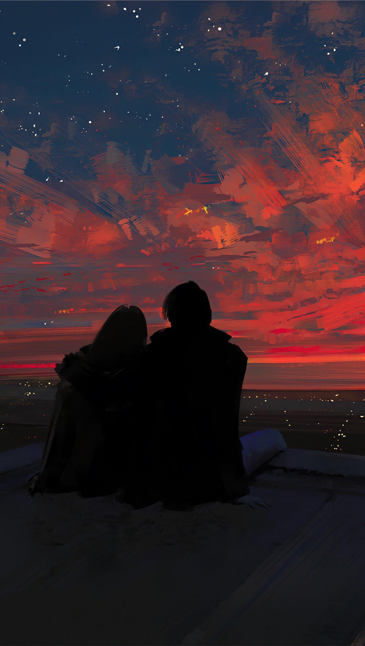 Fondos de pantalla Silueta de pareja viendo el atardecer Vertical