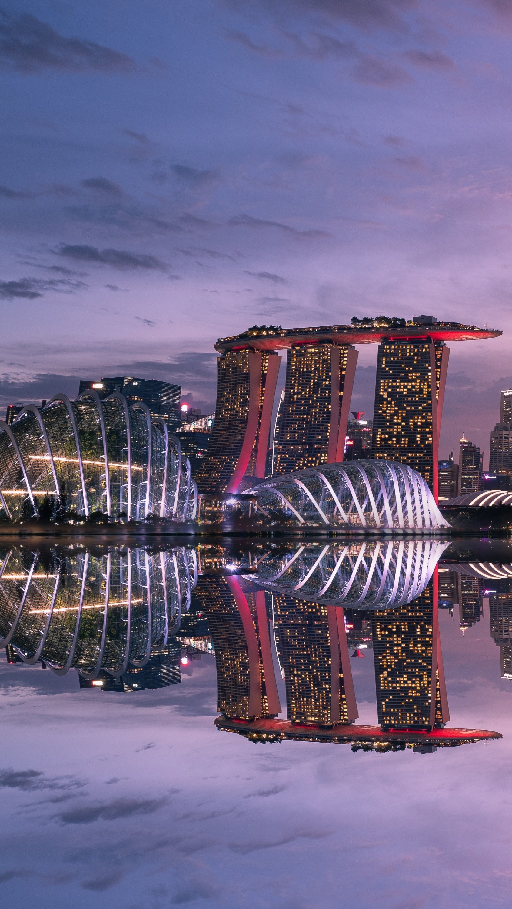 Wallpaper Singapore reflected in the water at sunset Vertical