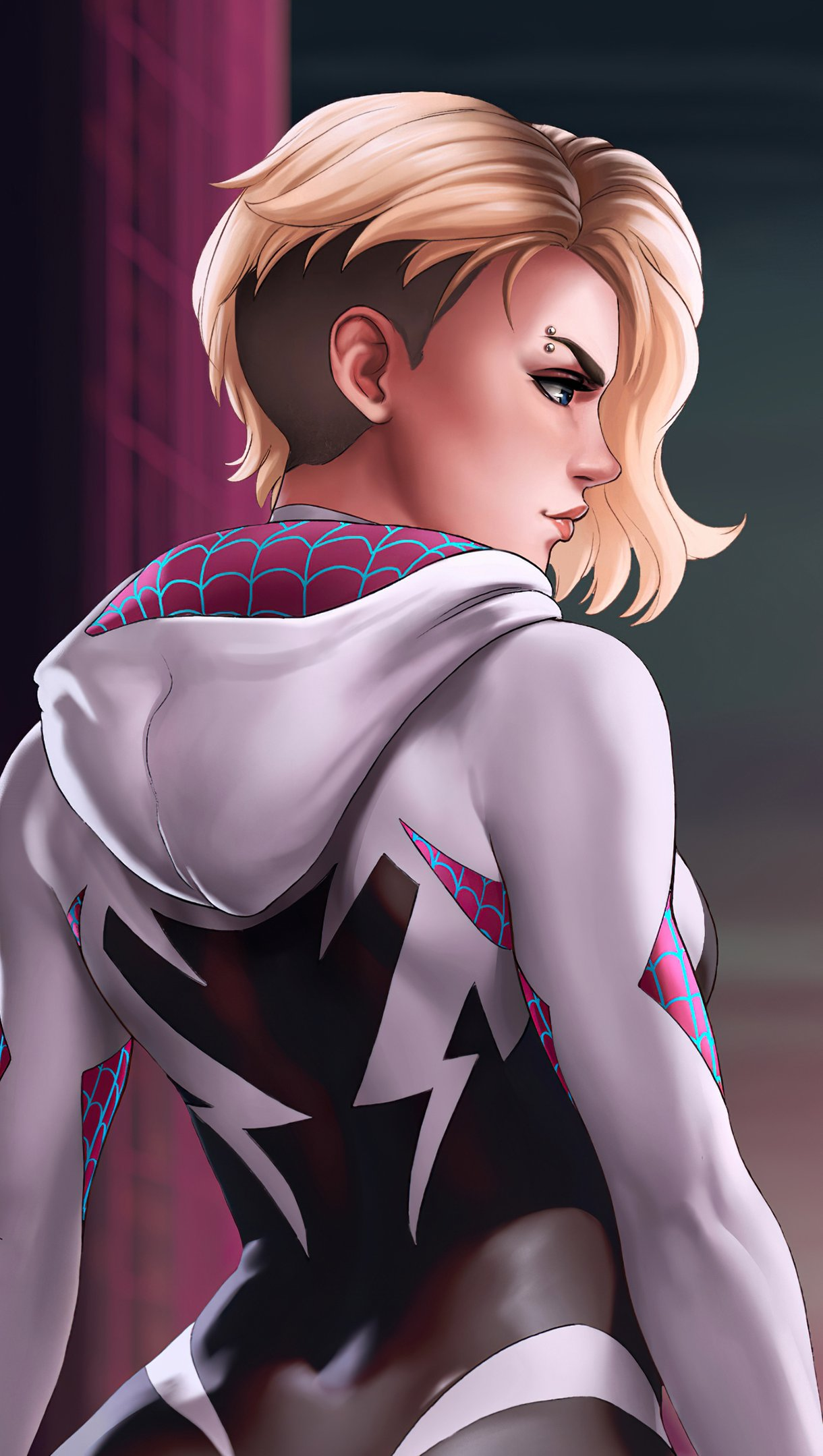 Wallpaper Spider Gwen Marvel Art Vertical