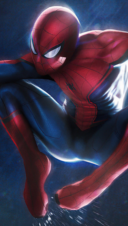 Fondos de pantalla Spider Man balanceandose en la lluvia Vertical