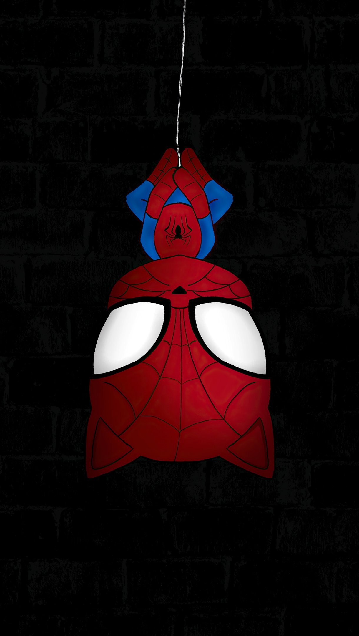 Wallpaper Spider Man Hanging Vertical