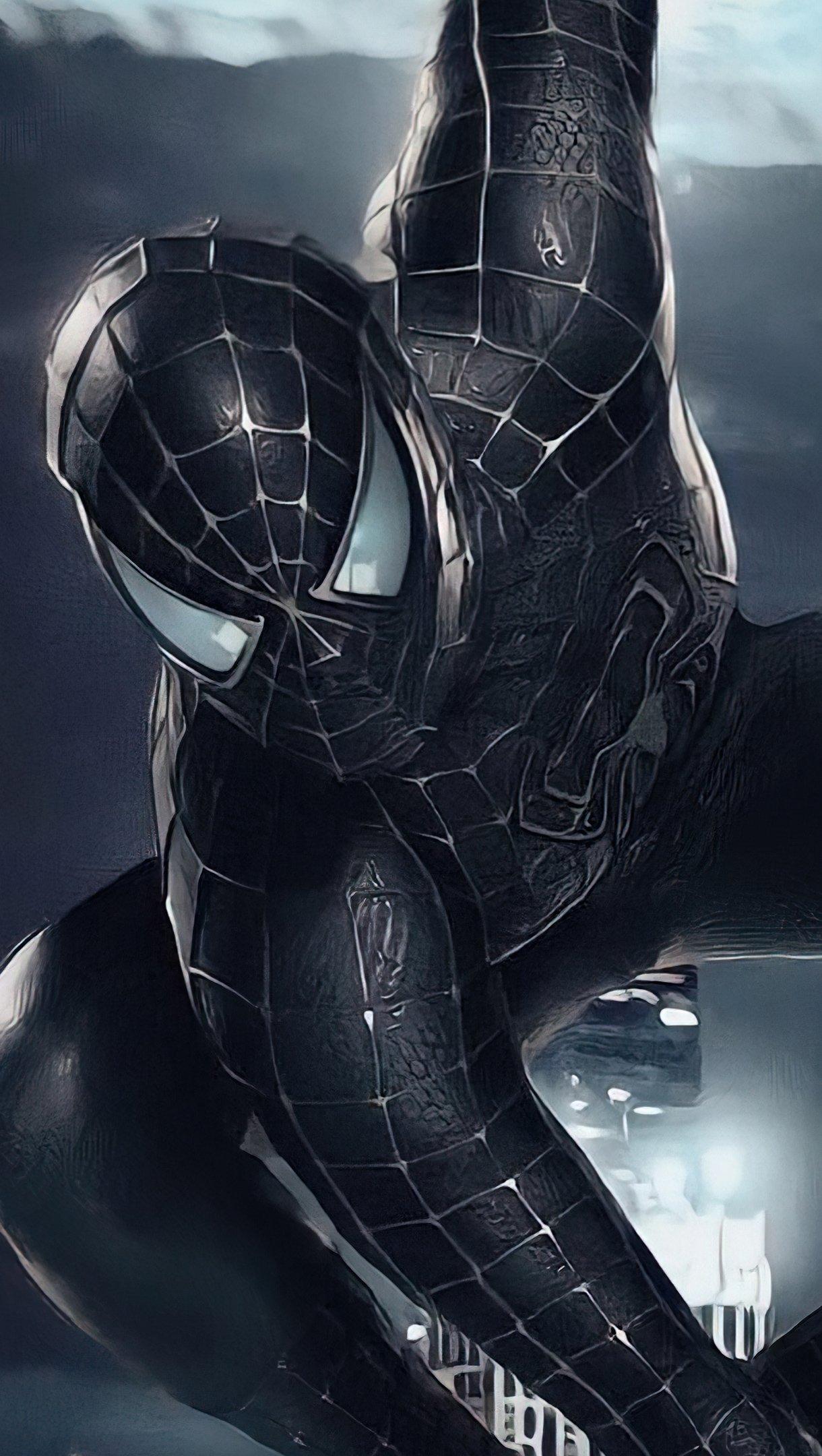 Fondos de pantalla Spider Man con traje negro Vertical
