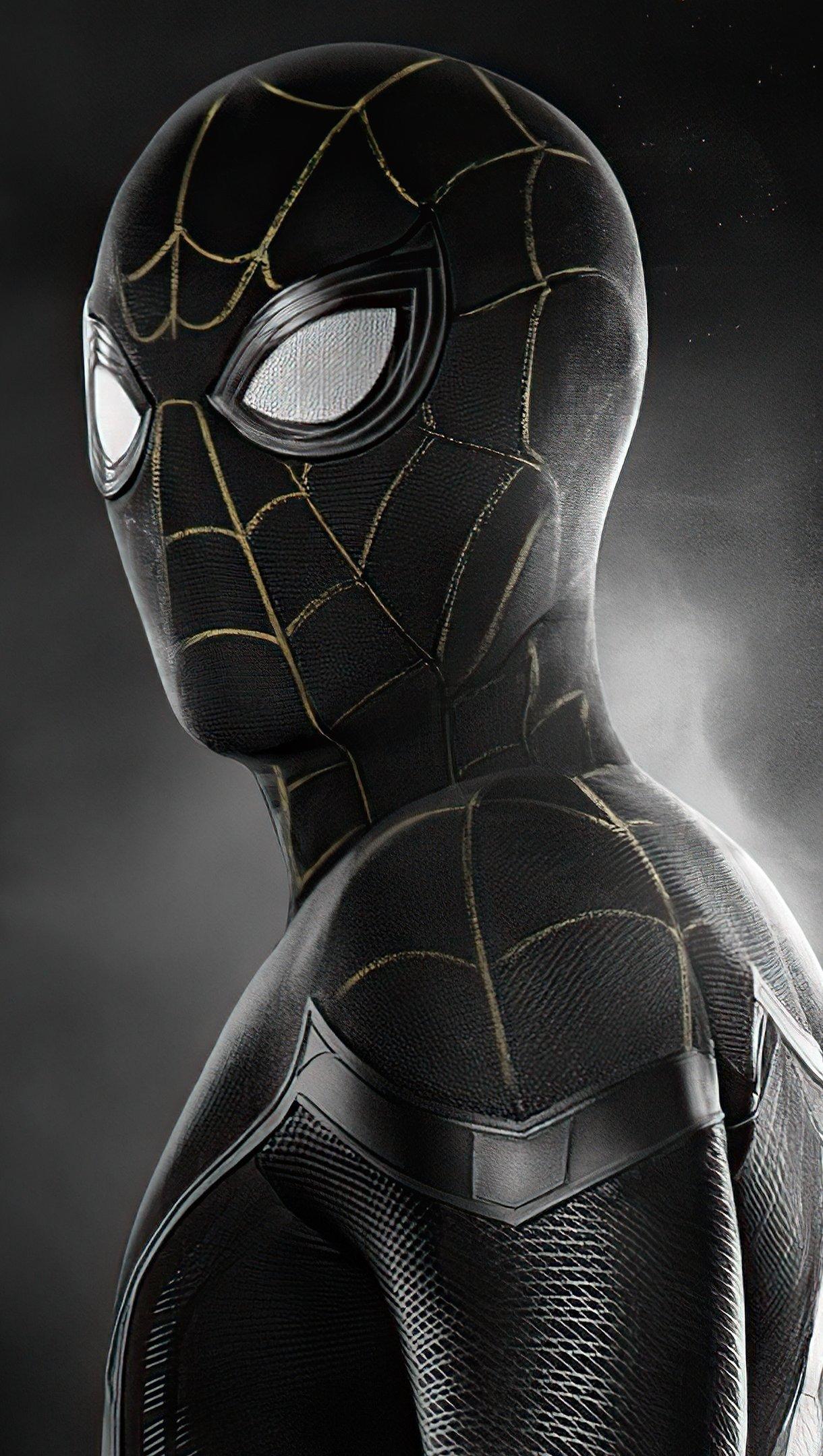 Wallpaper Spider Man black suit No way Home Vertical