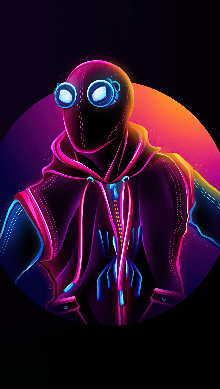 Wallpaper Spider Man Homemade suit Neon Vertical