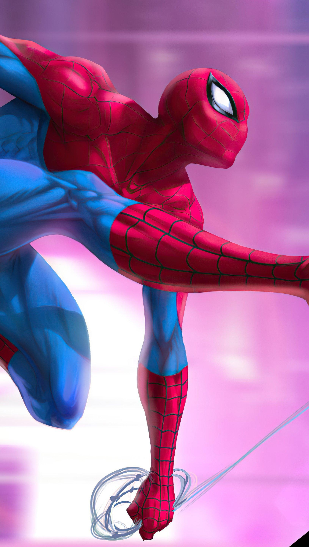 Wallpaper Spider Man Digital Illustration Vertical
