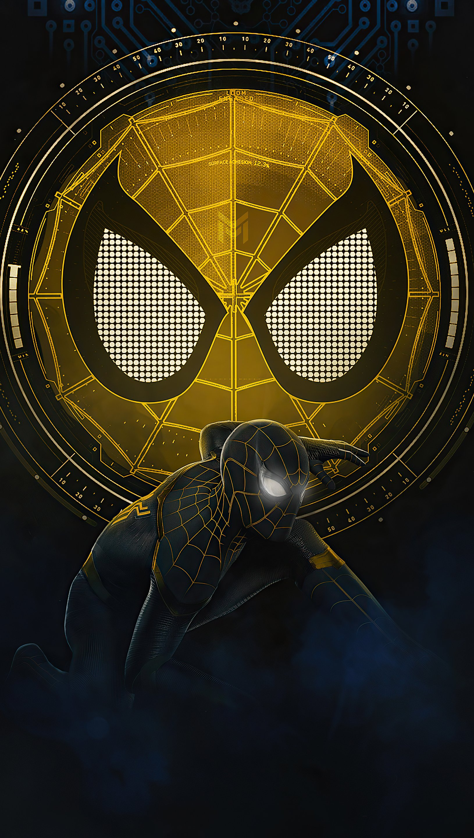 Wallpaper Spider Man No Way Home black and gold suit Vertical