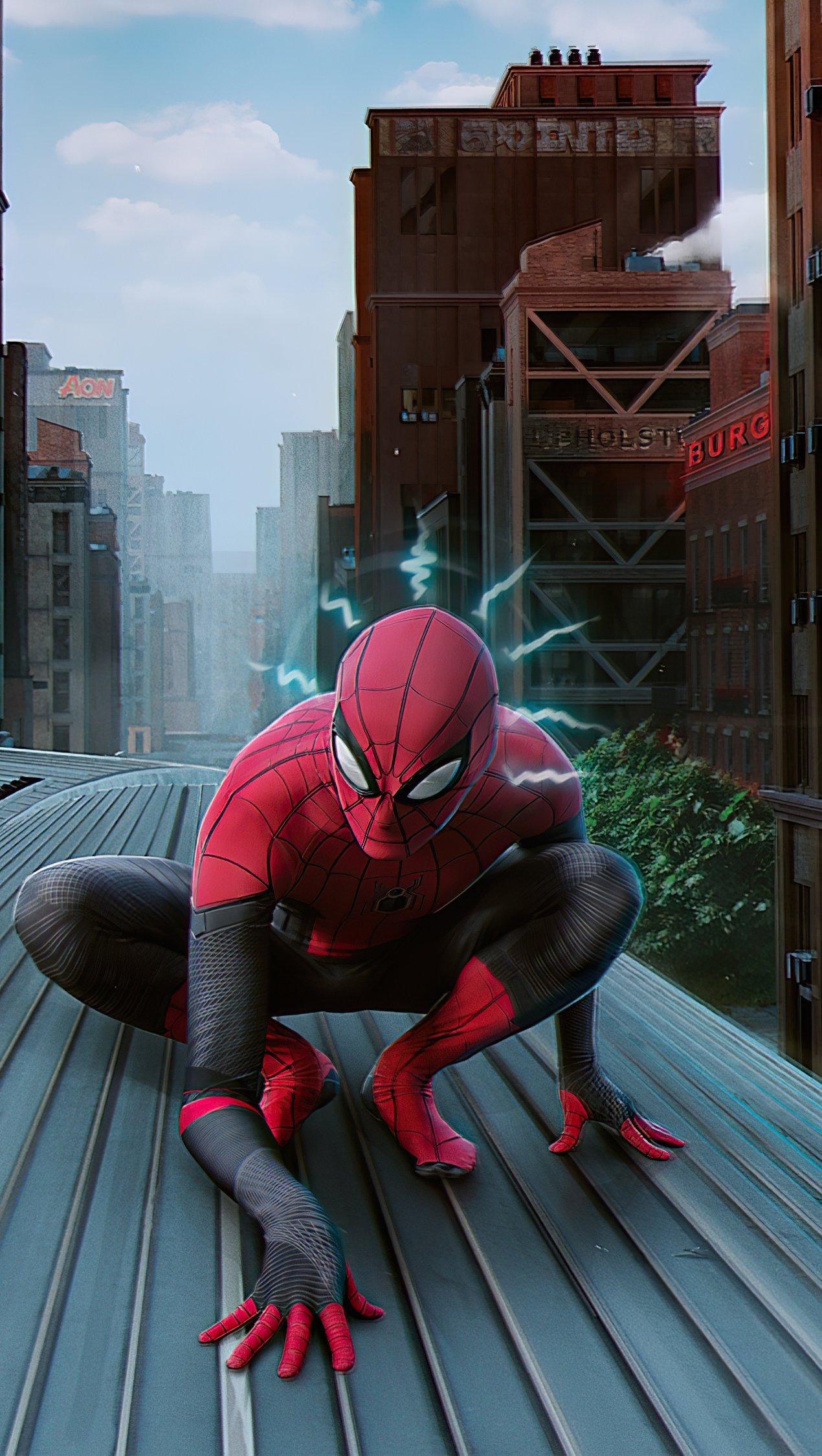 Wallpaper Spider Man on train Vertical