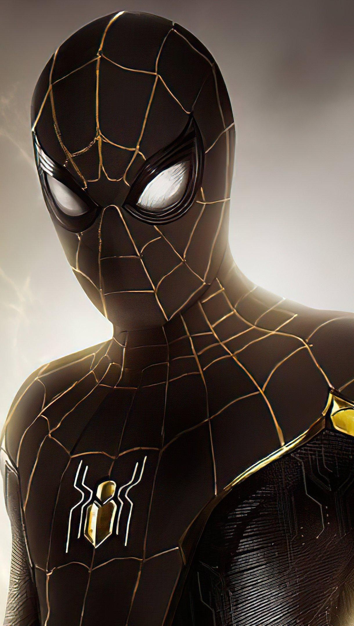 Fondos de pantalla Spider Man traje negro y dorado Vertical