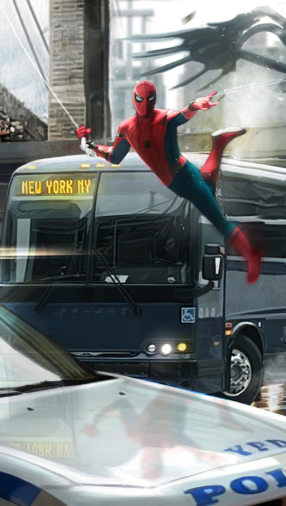 Wallpaper Spiderman in Queens Fanart Vertical