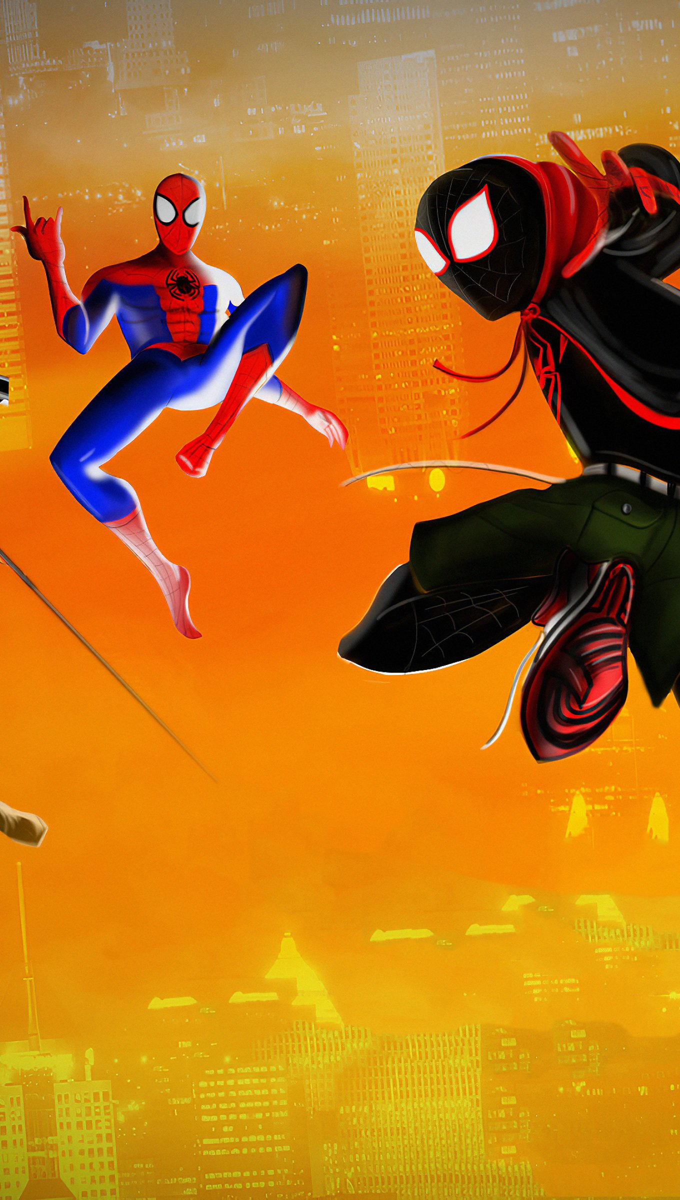 Fondos de pantalla Spidermans brincando de Un nuevo universo Vertical