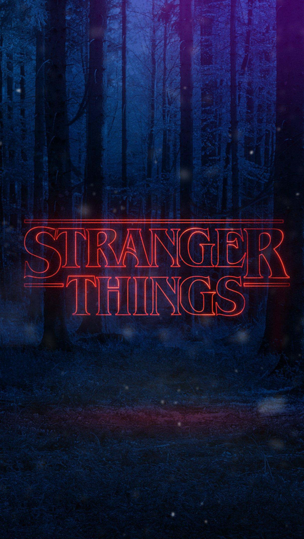 Wallpaper Stranger Things Bosque Logo Netflix Vertical