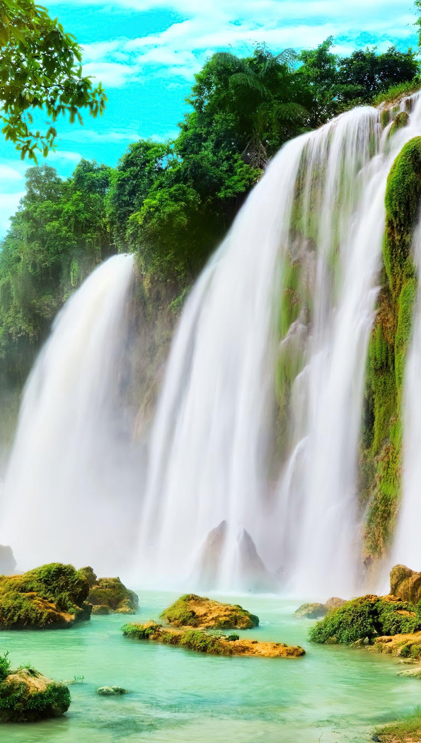Fondos de pantalla Sueño a través de cascadas Vertical