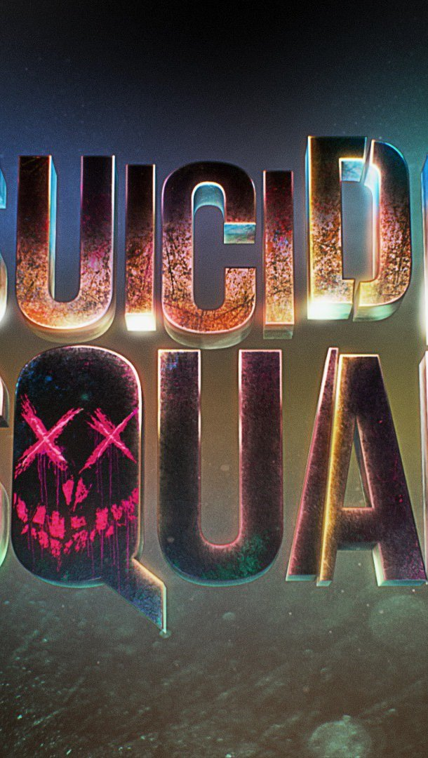 Wallpaper Suicide Squad Title with Lights Vertical