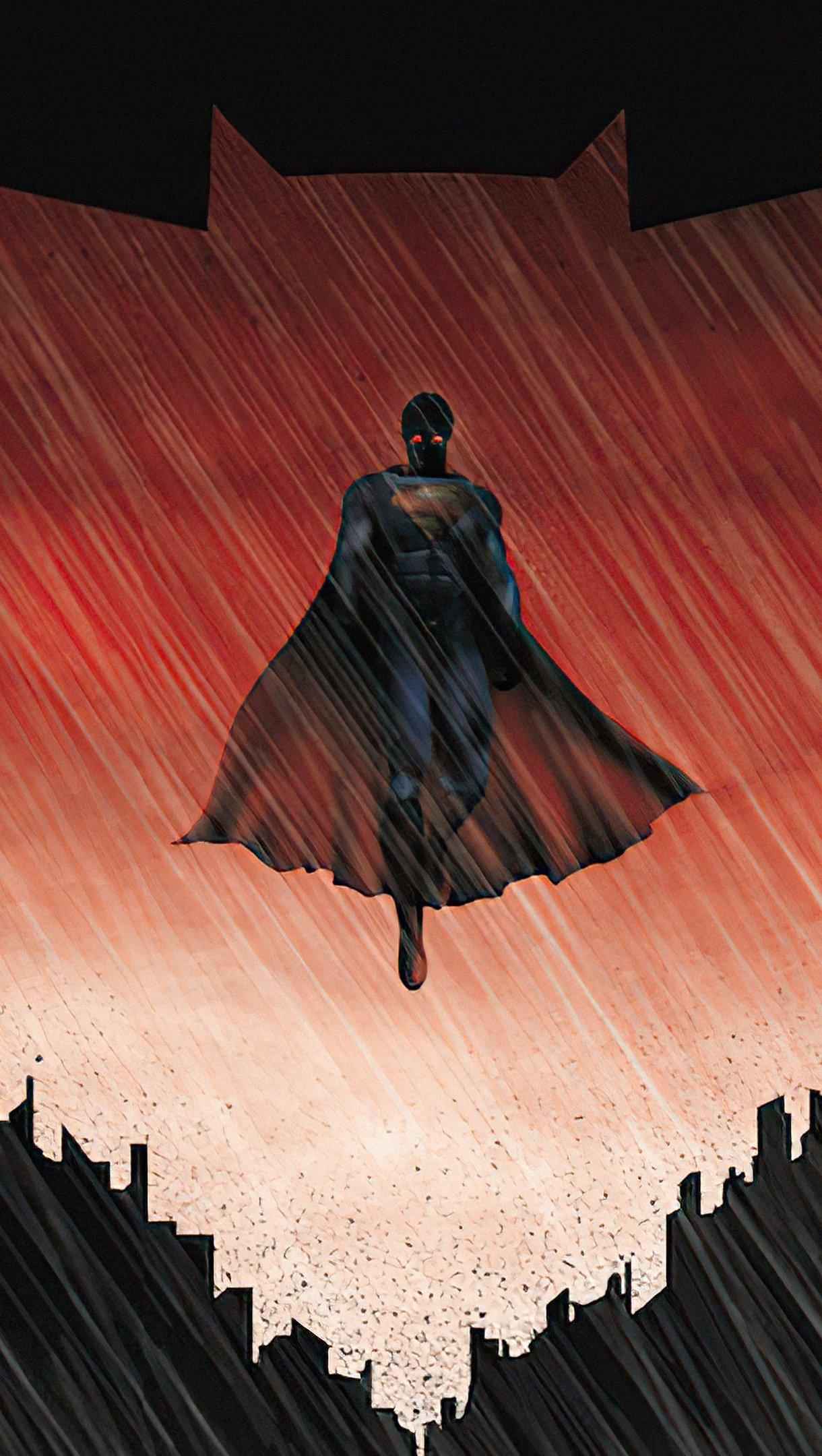 Wallpaper Superman inside Batman logo Vertical