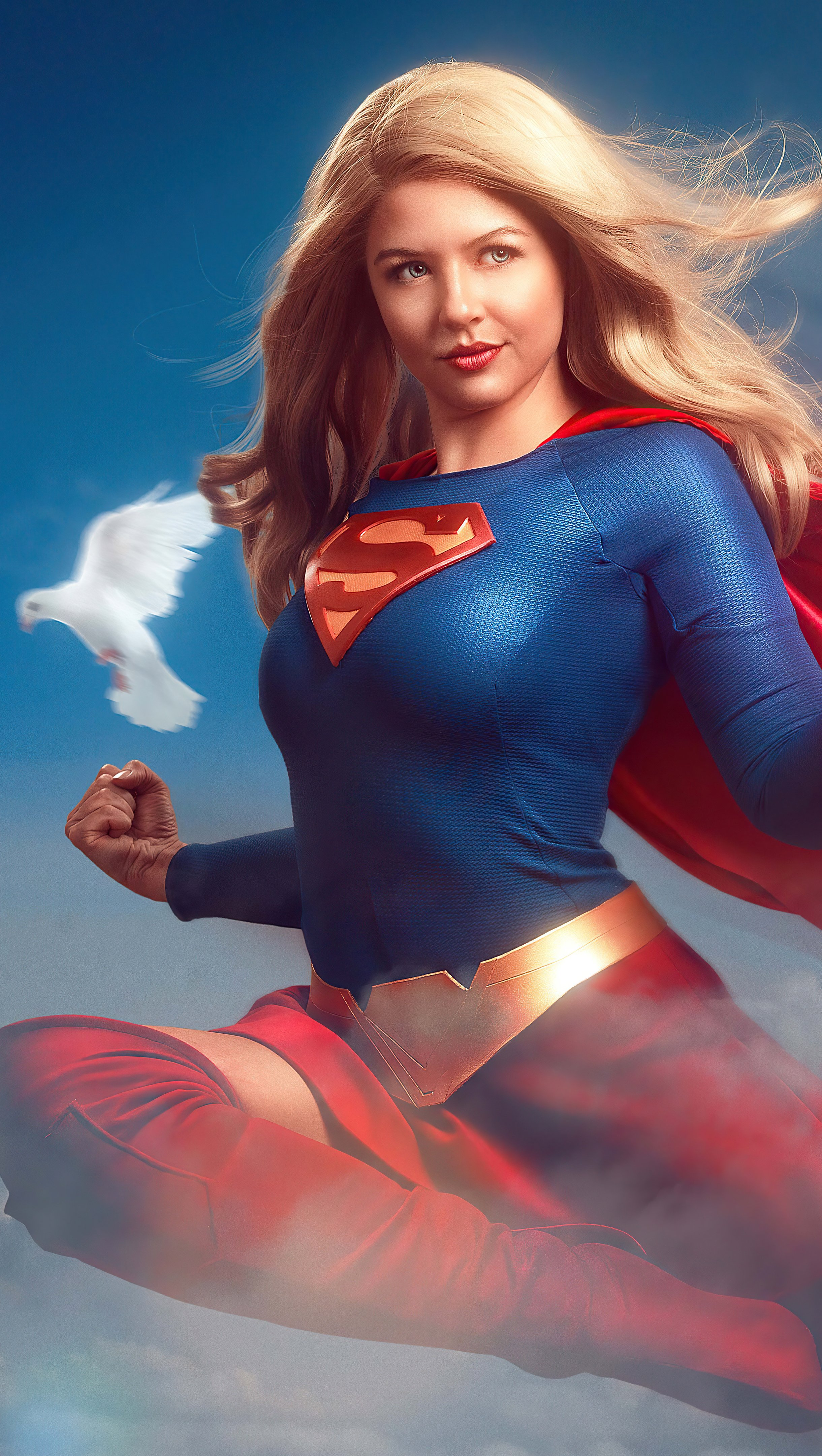 Fondos de pantalla Supergirl y palomas blancas Fanart Vertical