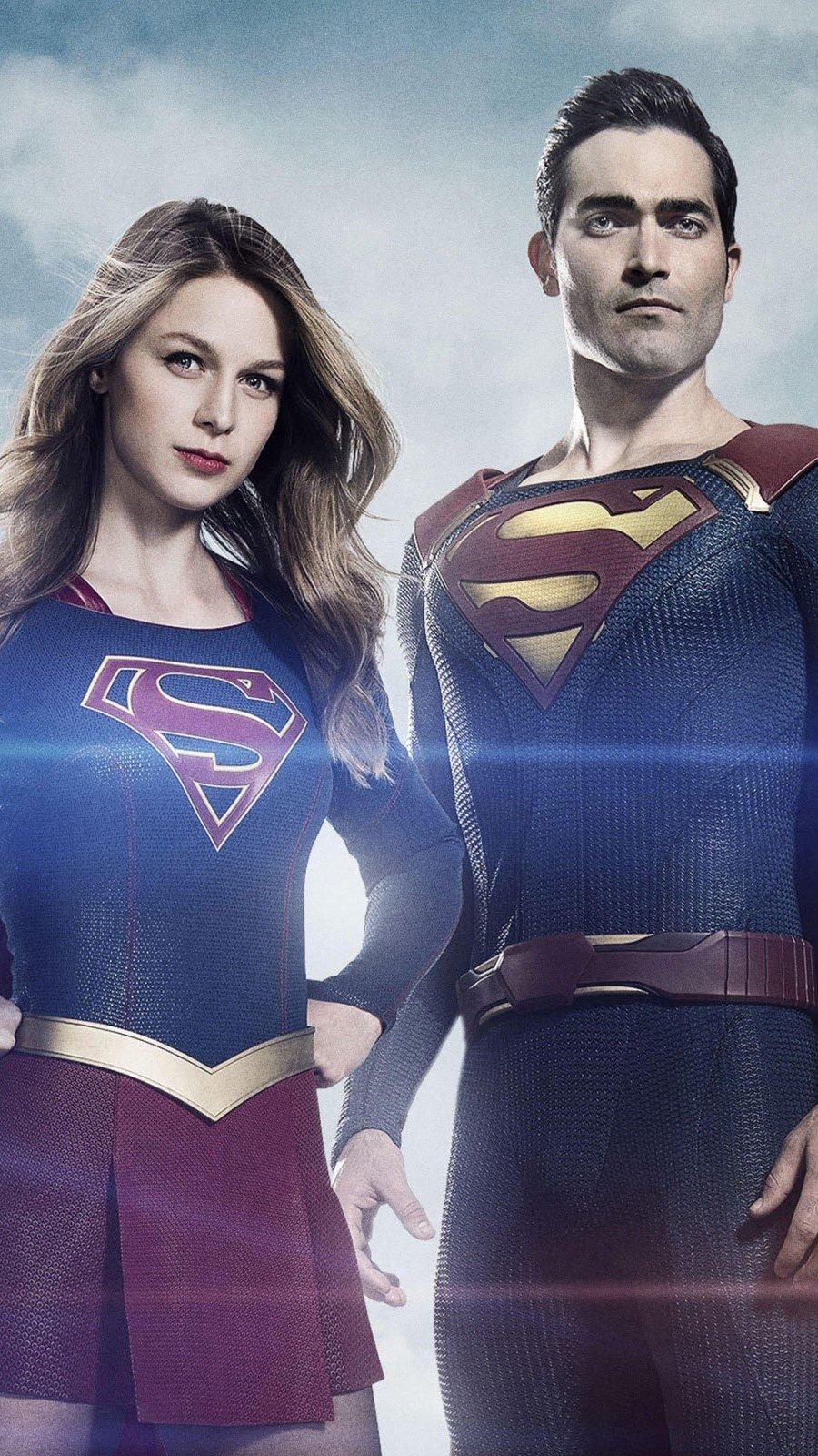 Fondos de pantalla Supergirl y Superman Vertical