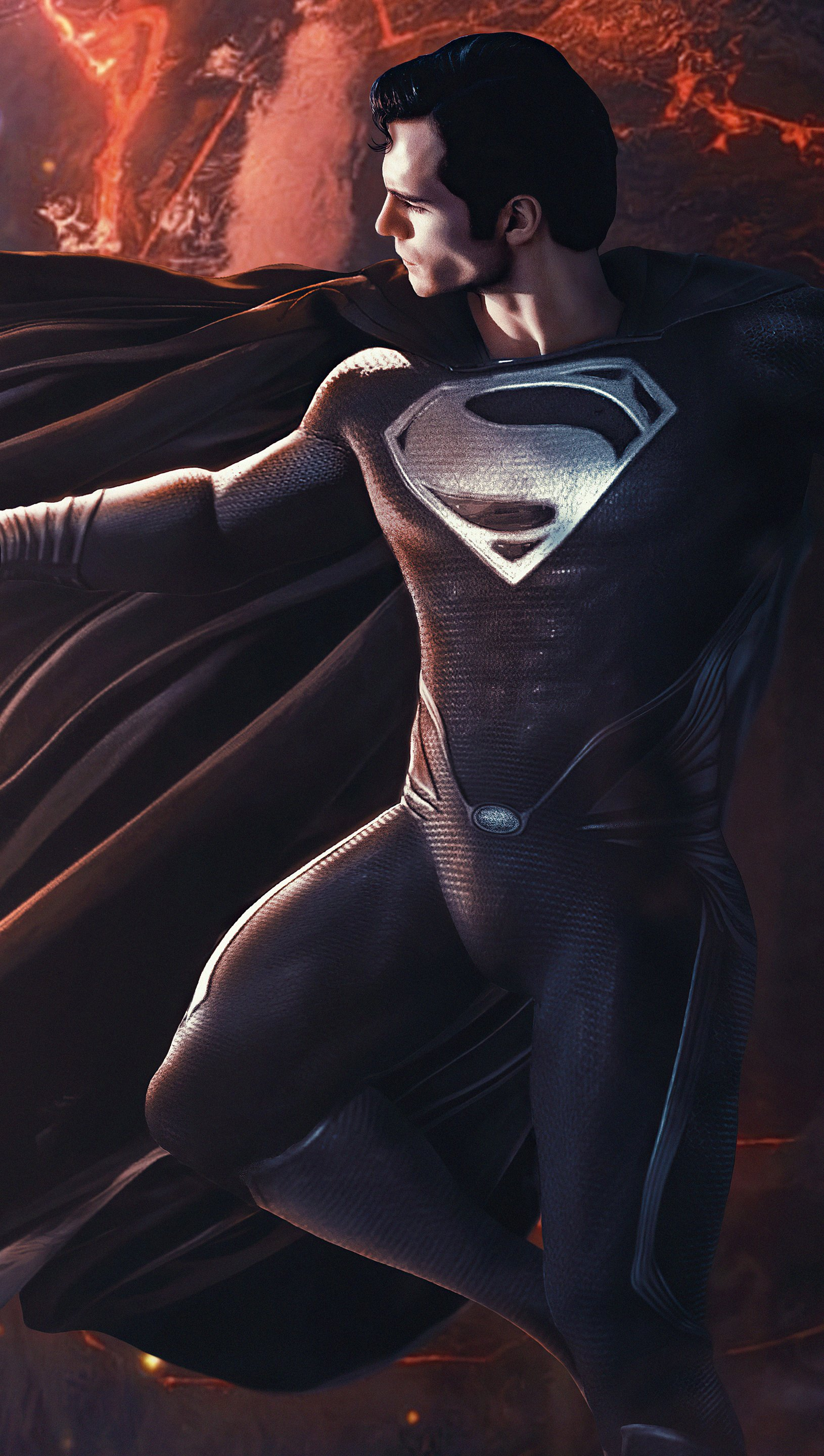 Wallpaper Superman with black suit over the earth Vertical