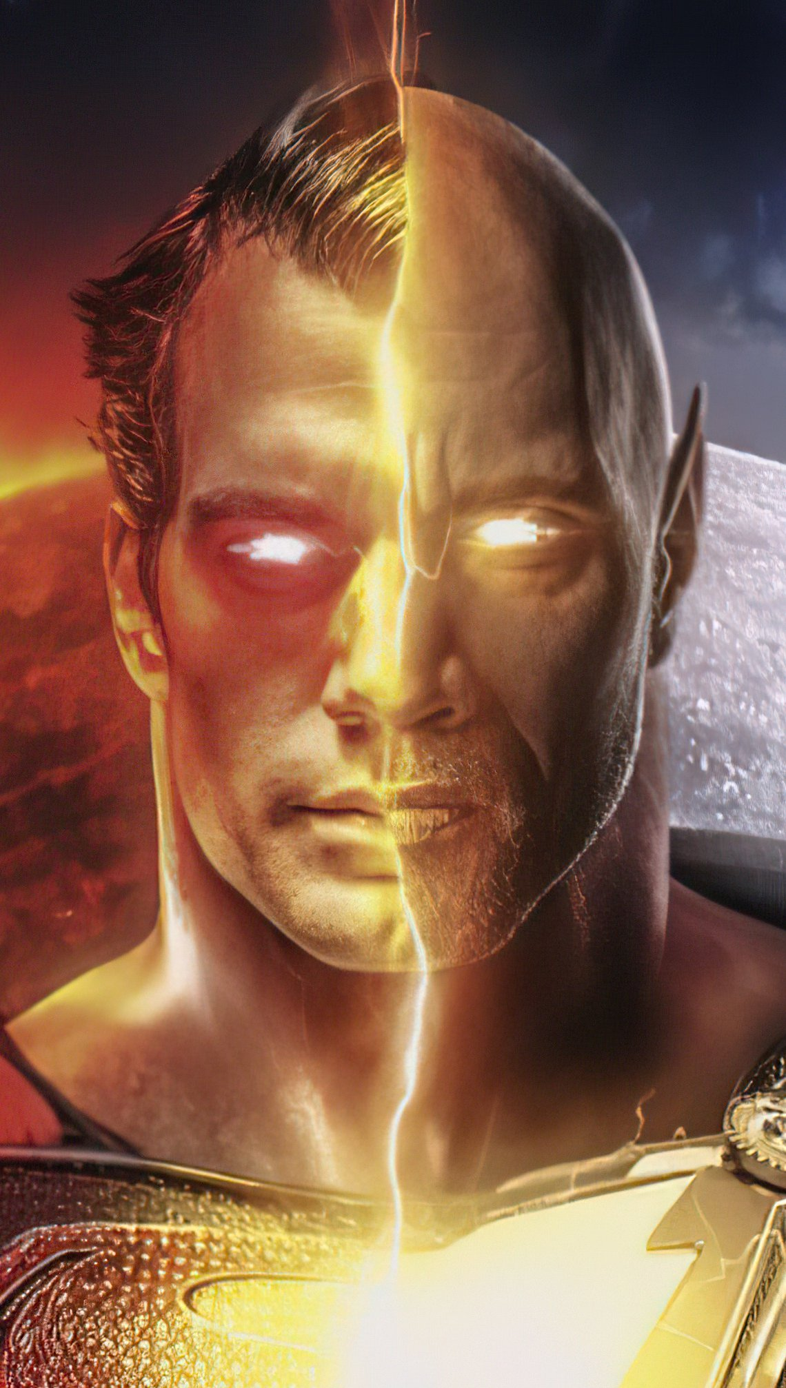 Wallpaper Superman contra Black Adam Vertical