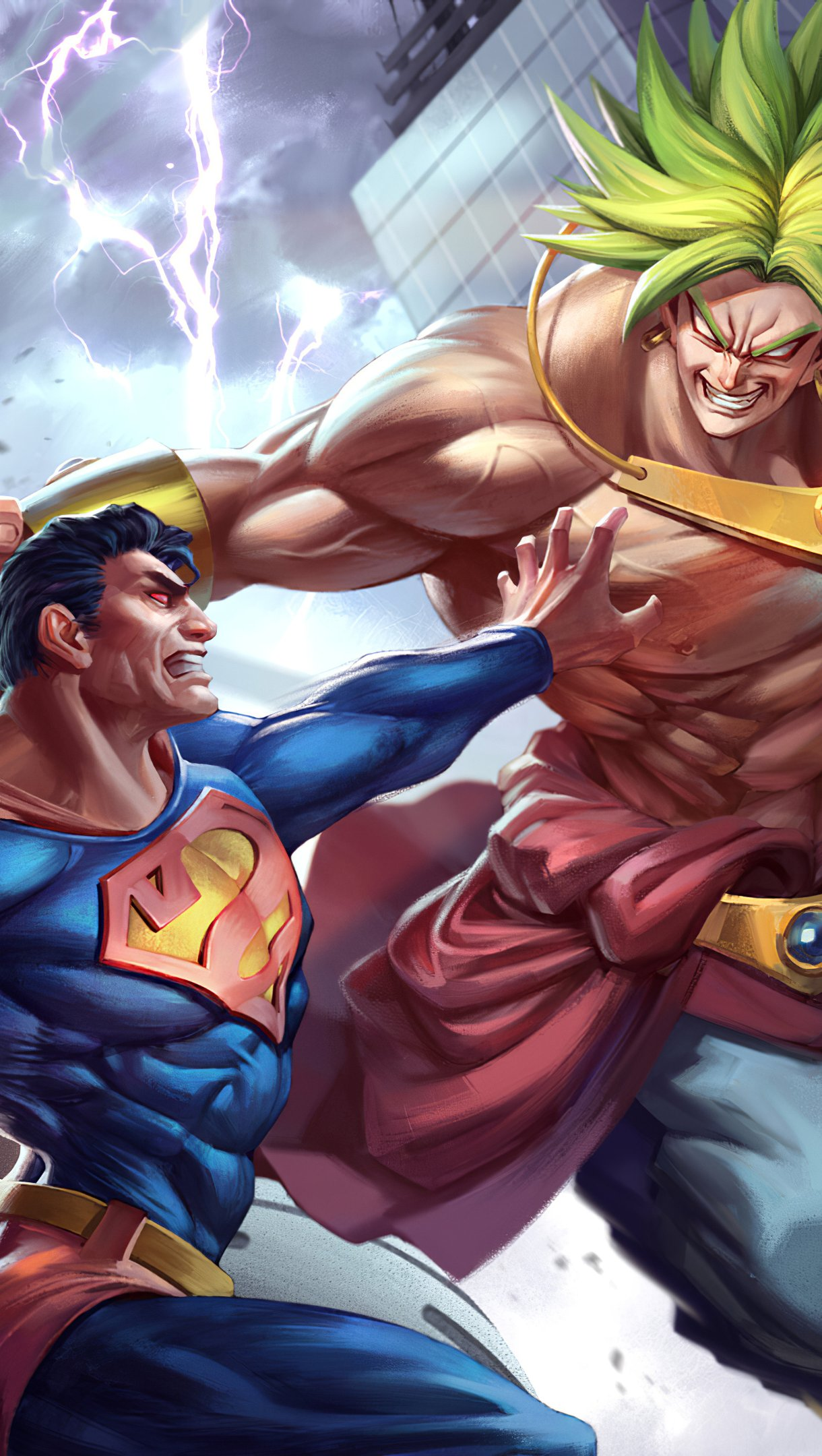 Wallpaper Superman vs Goku Vertical